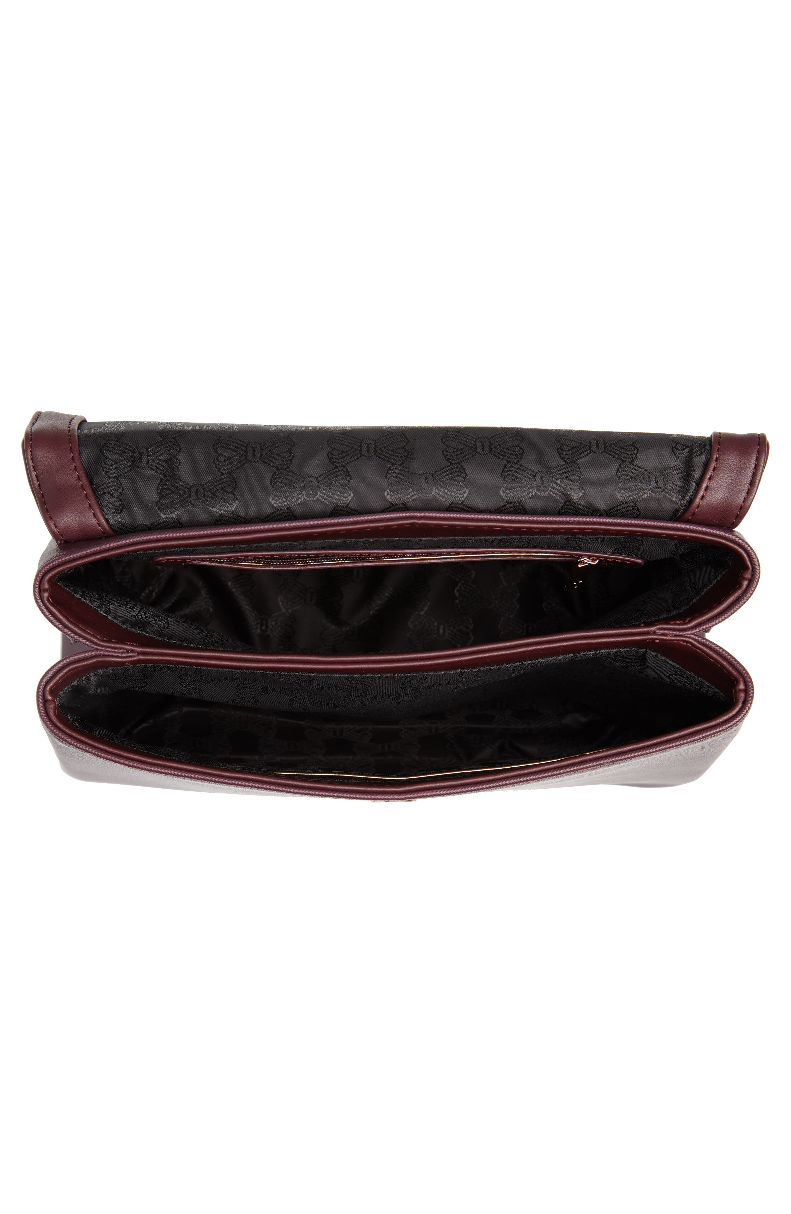 Keiira Lady Bag Faux Leather Top Handle Satchel,                             Alternate thumbnail 4, color,                             DEEP PURPLE
