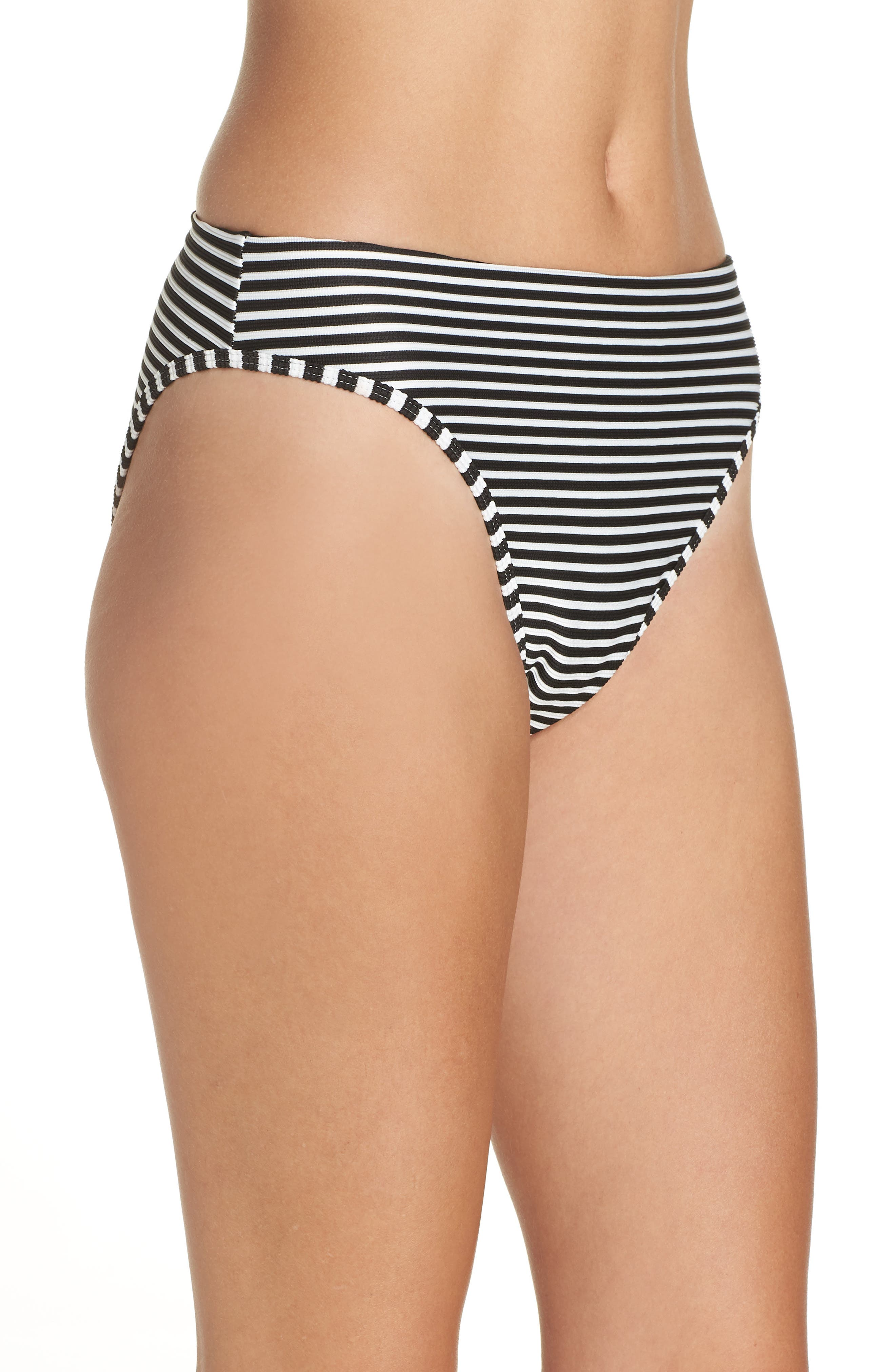 Pierre High Waist Bikini Bottoms,                             Alternate thumbnail 3, color,                             BLACK/ CREAM