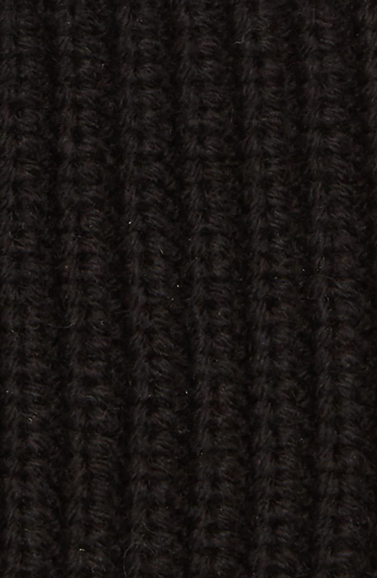 Half Cardigan Stitch Beanie,                             Alternate thumbnail 2, color,                             BLACK