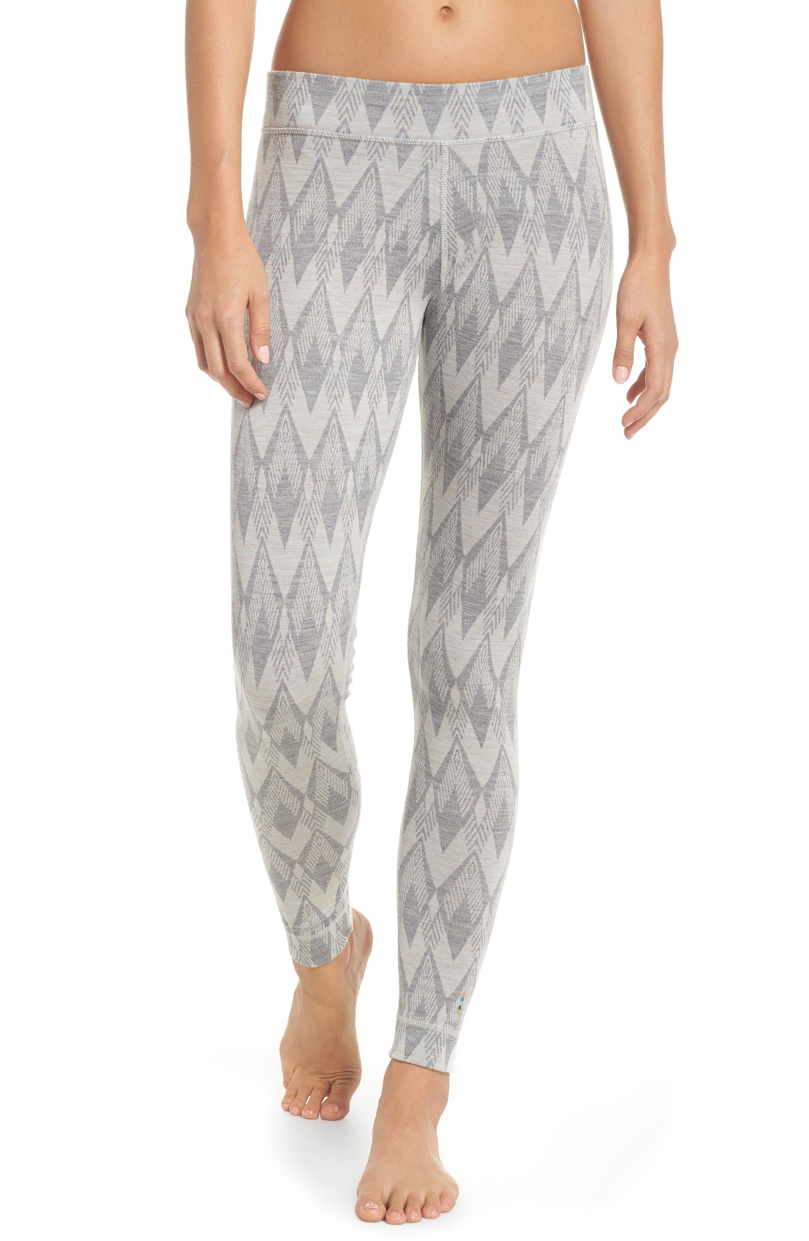 Merino 250 Base Layer Pattern Bottoms,                         Main,                         color, LIGHT GREY/ MOONBEAM HEATHER