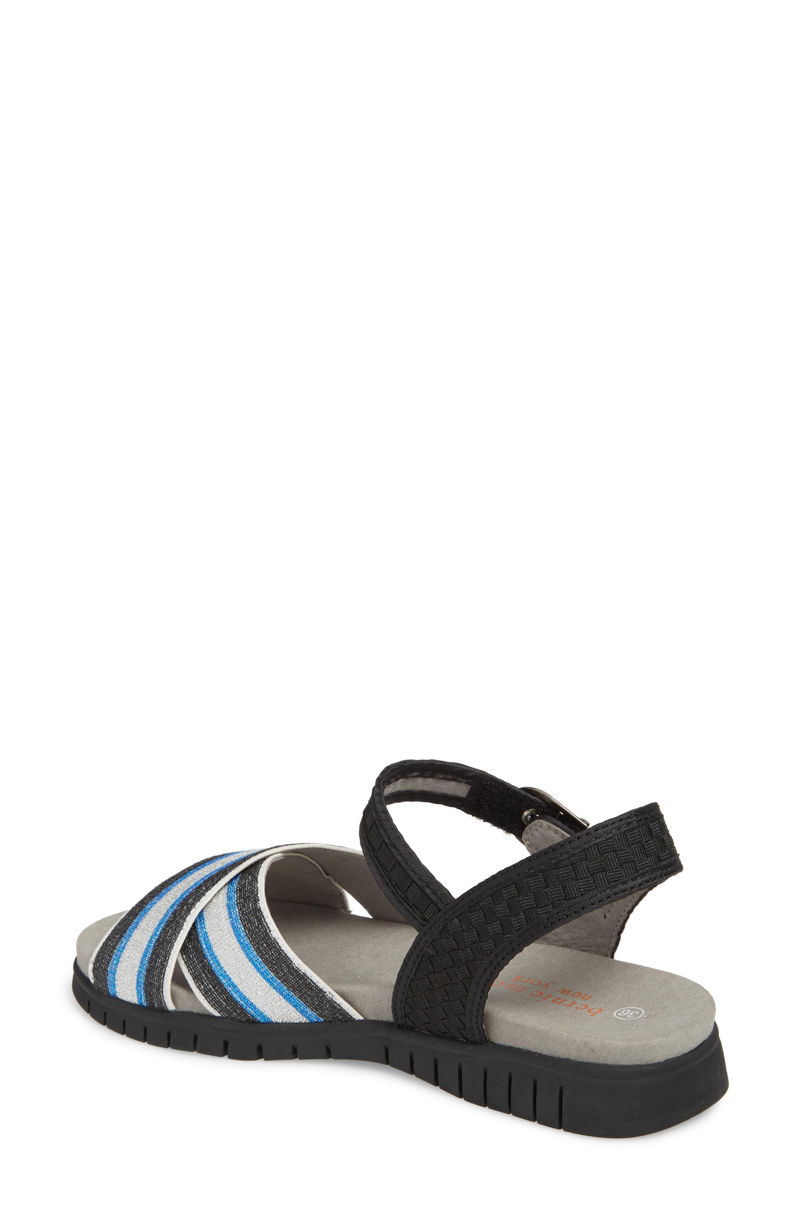 Malibu Sandal,                             Alternate thumbnail 2, color,                             BLACK BLUE STRIPE FABRIC