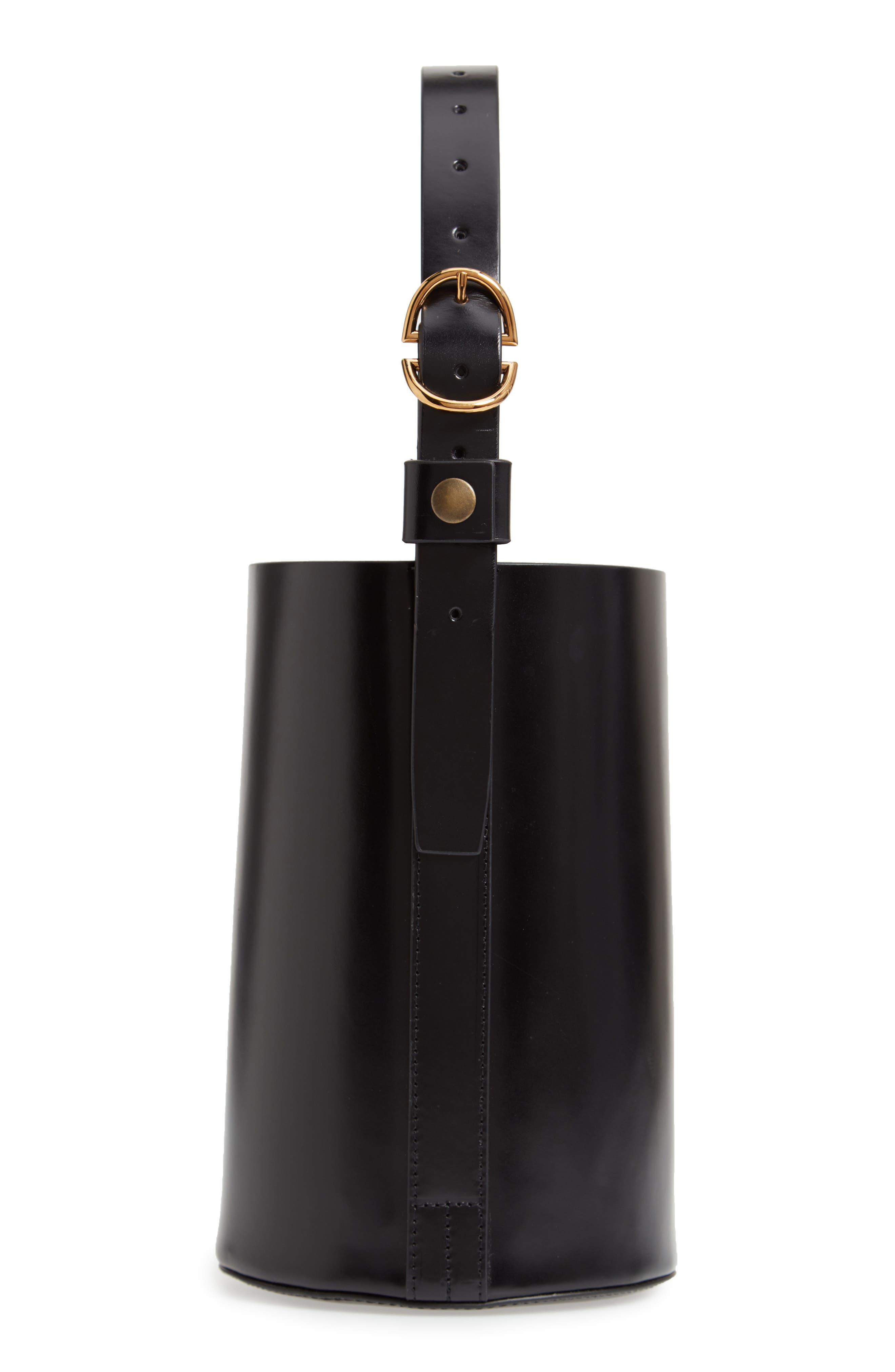 Small Leather Bucket Bag,                             Main thumbnail 1, color,                             BLACK/ BLACK