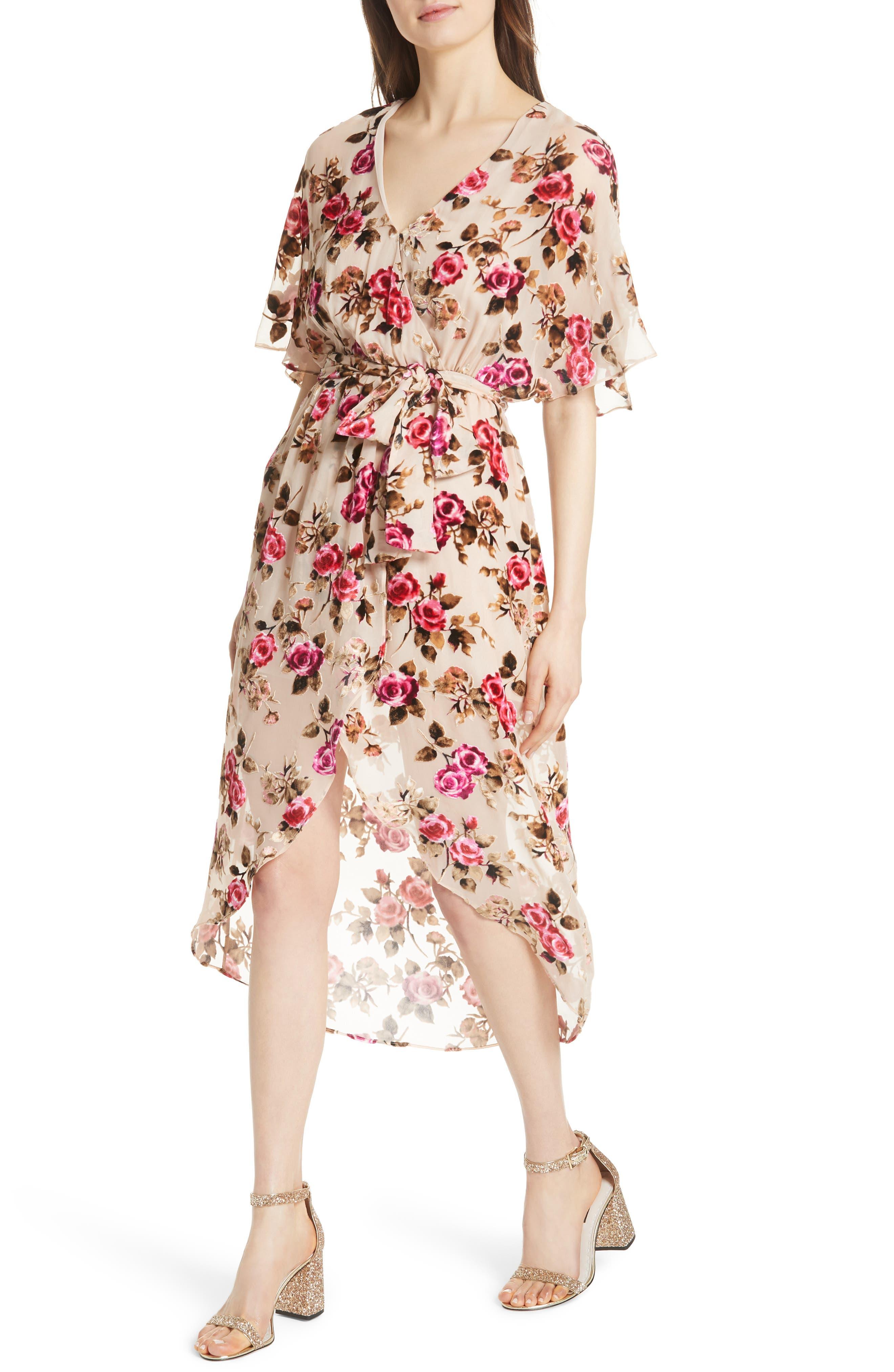 ALICE + OLIVIA,                             Clarine Floral Faux Wrap Dress,                             Alternate thumbnail 5, color,                             251