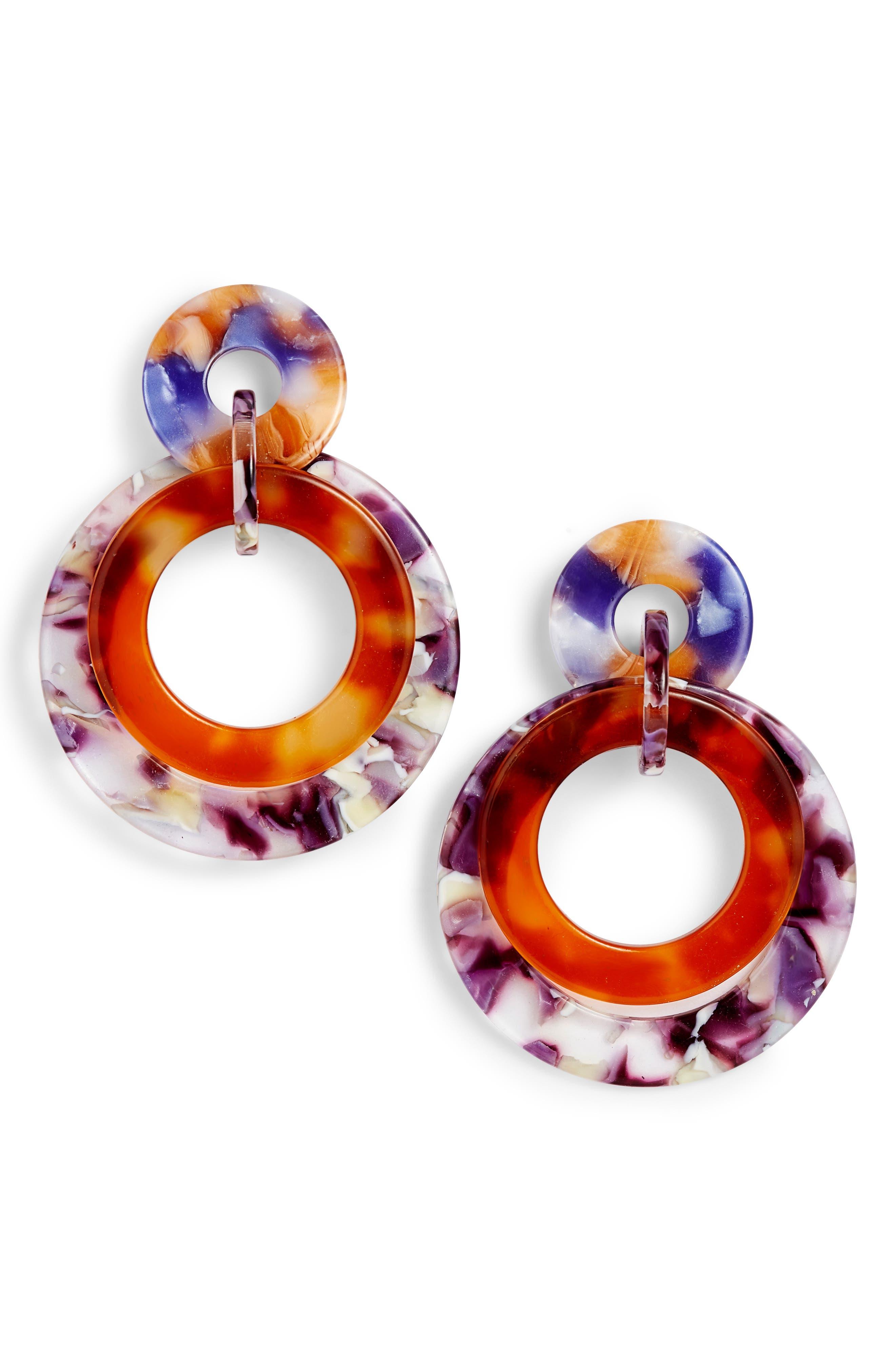Banded Hoop Earrings,                         Main,                         color, TORTOISE ORCHID