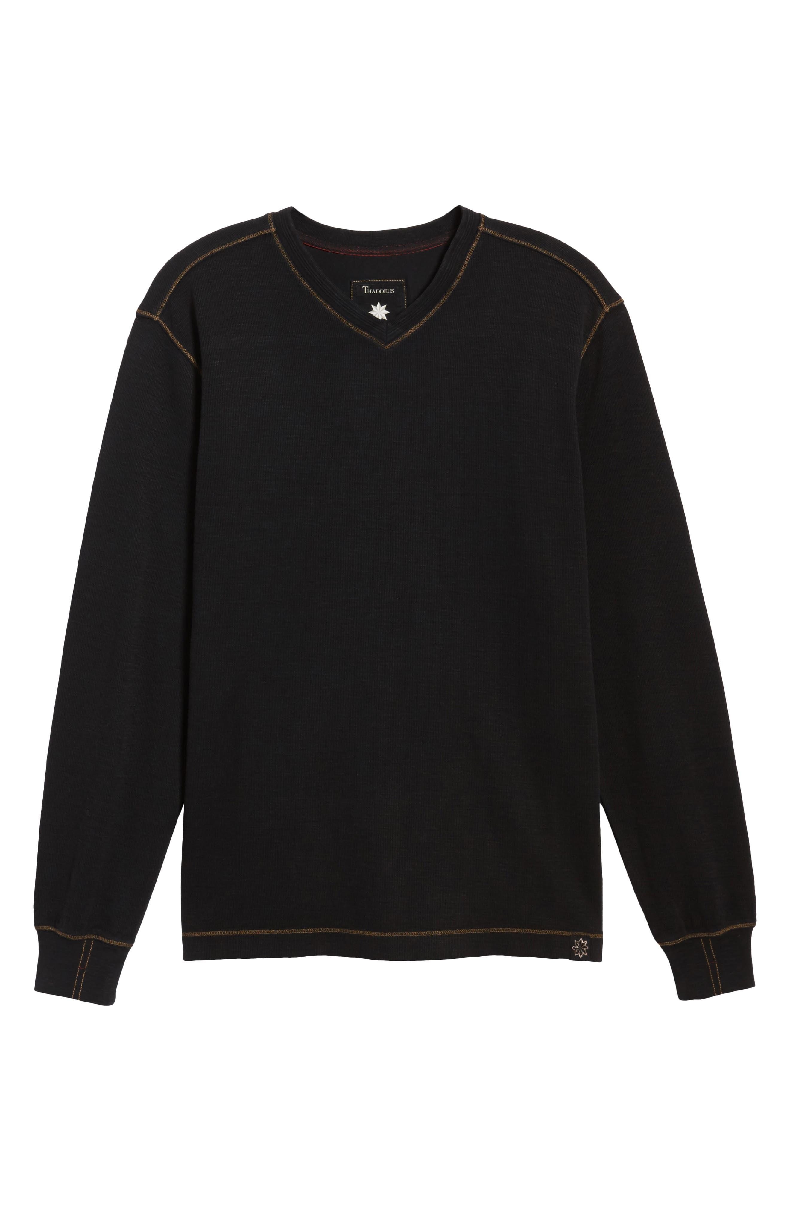 Anthony Slubbed Long Sleeve V-Neck T-Shirt,                             Alternate thumbnail 6, color,                             001