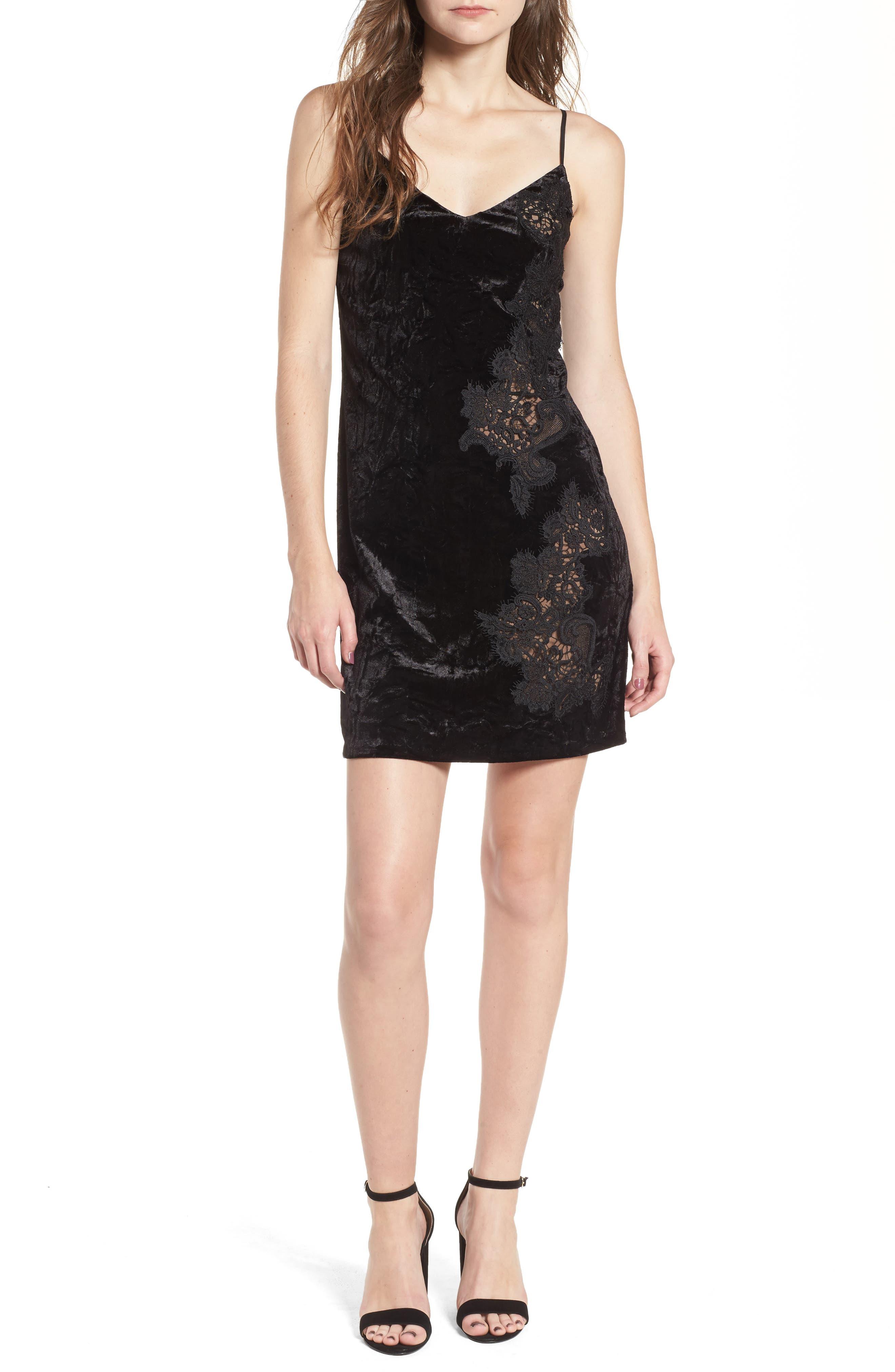 Velvet & Lace Slipdress,                         Main,                         color,