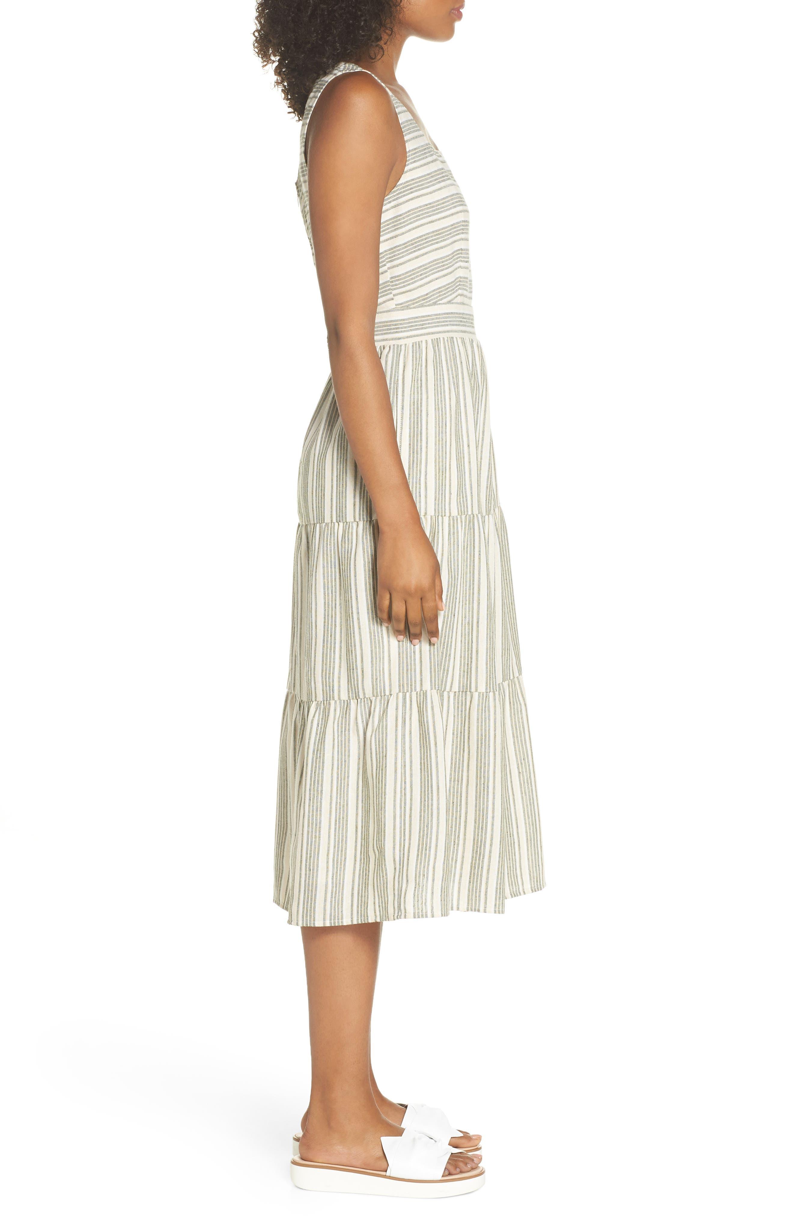 Sleeveless Stripe Midi Dress,                             Alternate thumbnail 3, color,                             300