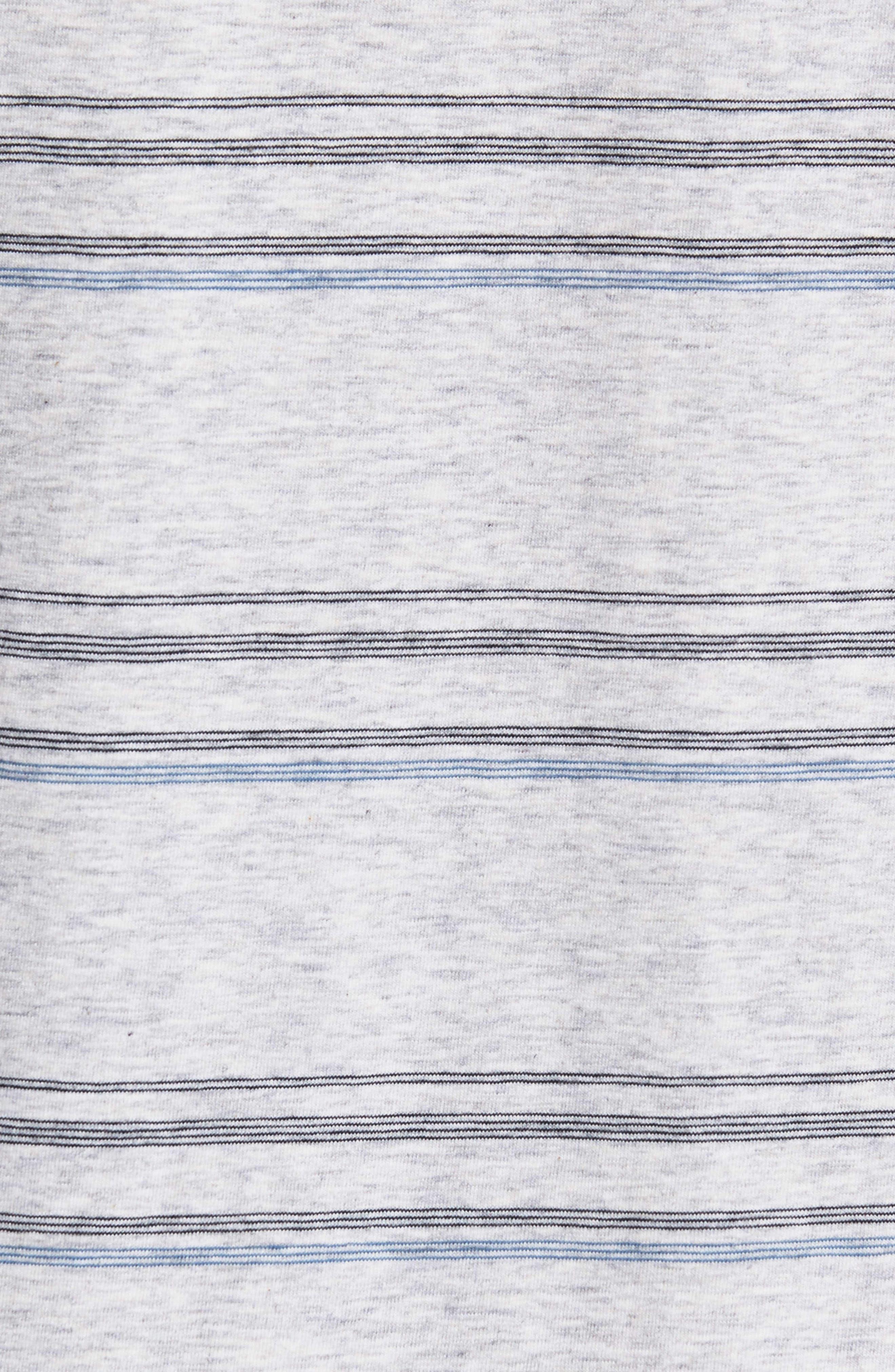 Stripe Pima Cotton & Modal V-Neck T-Shirt,                             Alternate thumbnail 5, color,                             BLACK/ BLUE