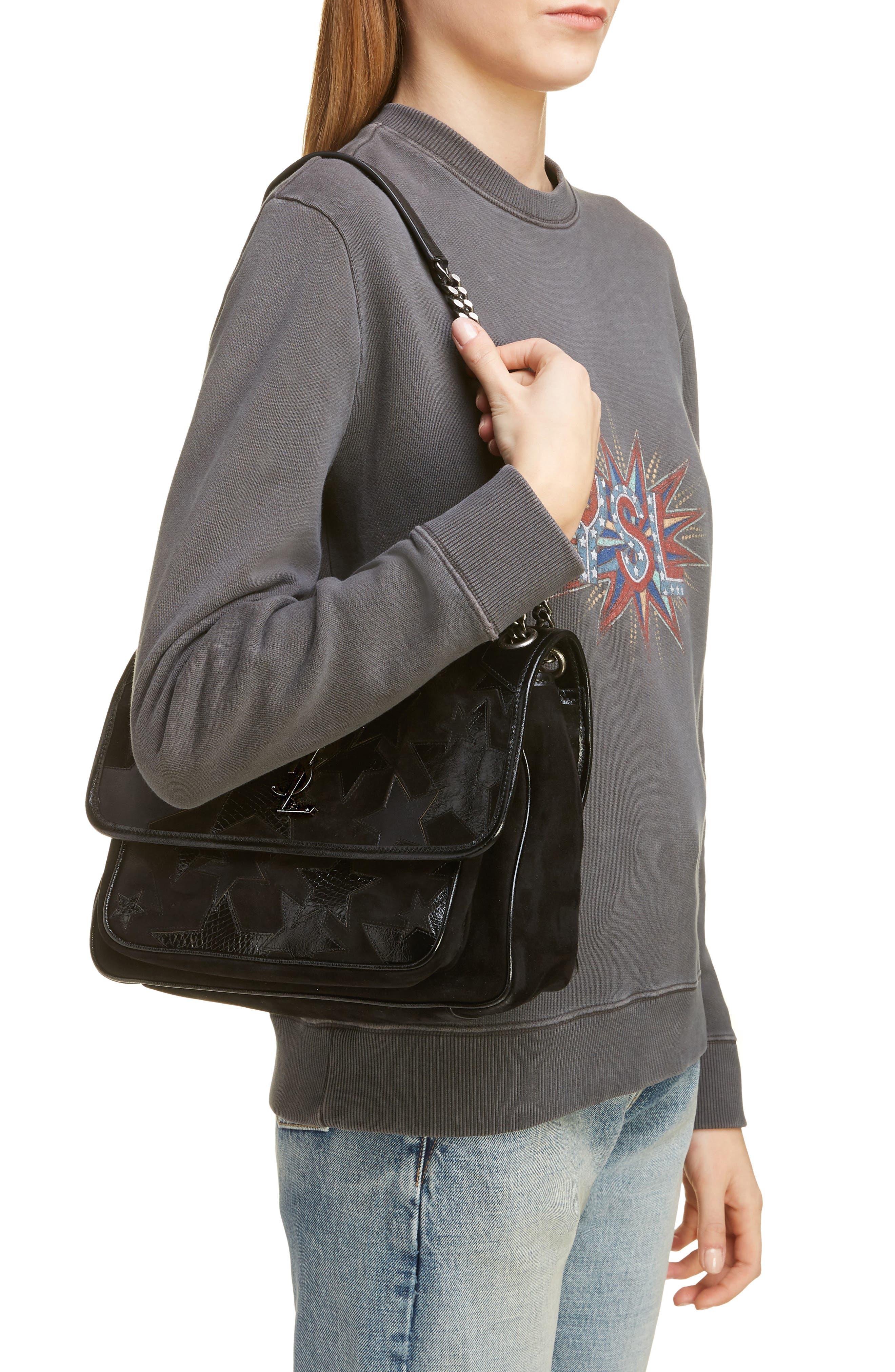 Medium Niki Patchwork Suede Shoulder Bag,                             Alternate thumbnail 2, color,                             NOIR