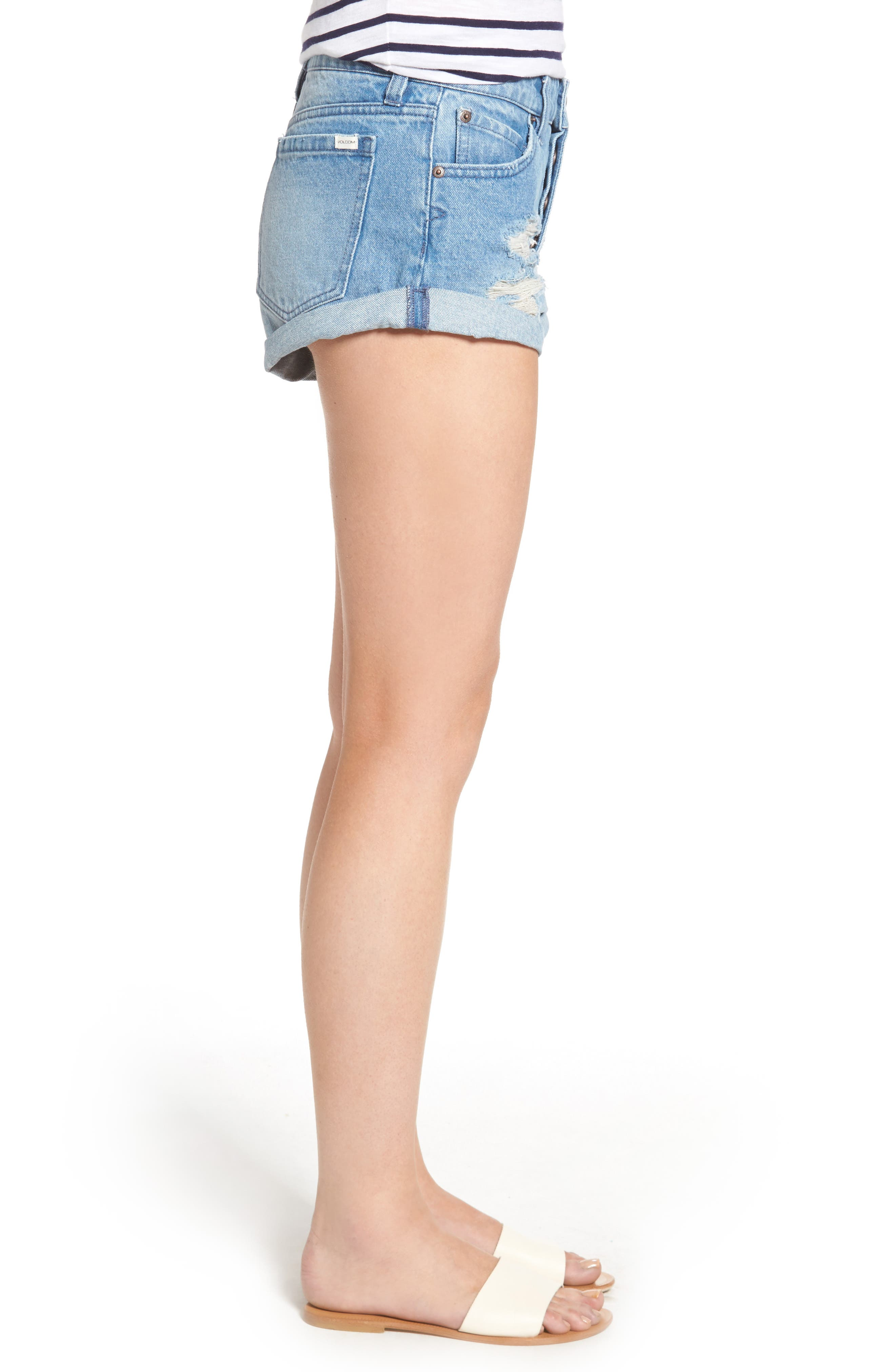 Rolled Denim Shorts,                             Alternate thumbnail 6, color,