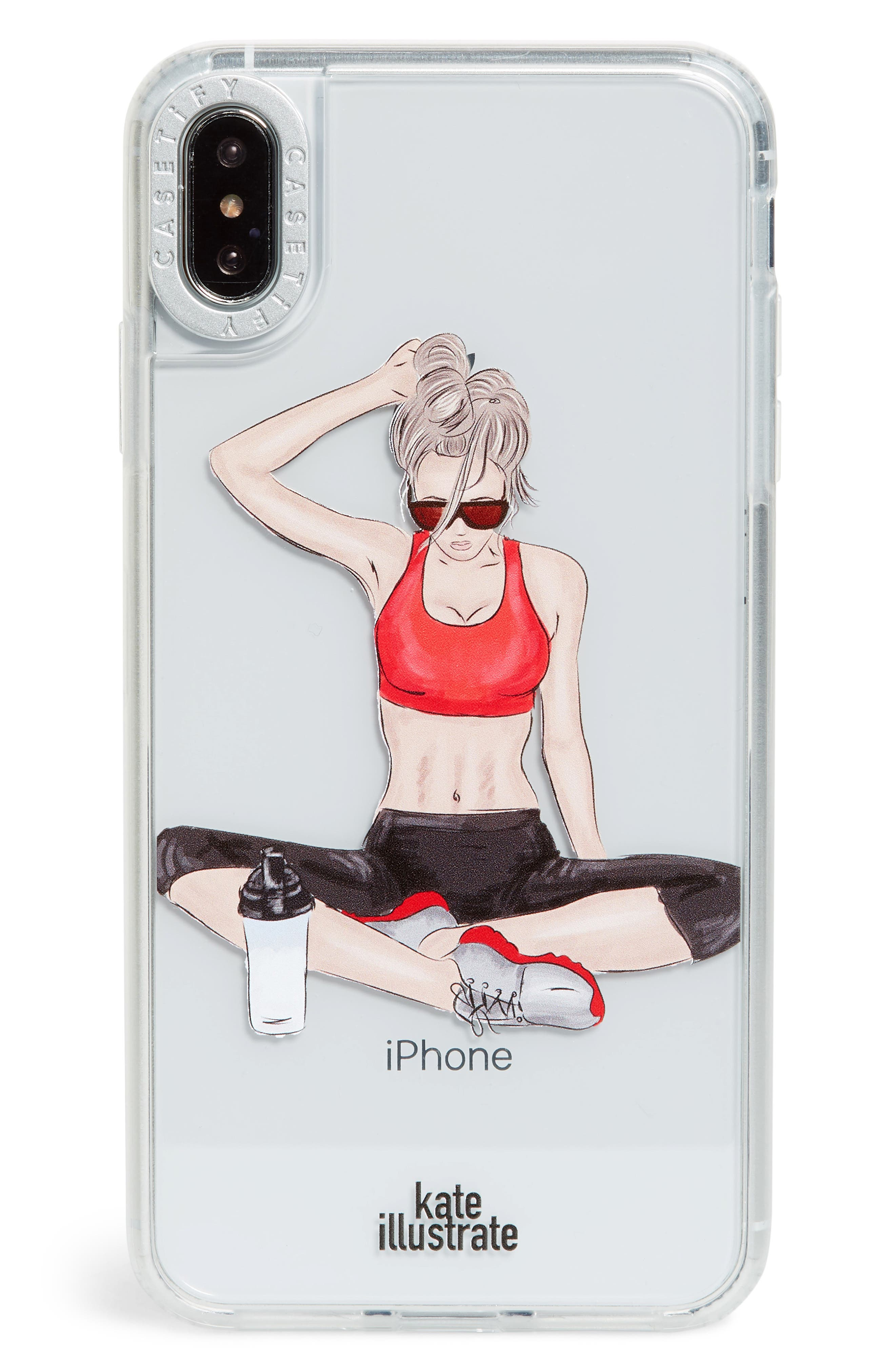 CASETIFY,                             Workout Grip iPhone X/Xs/Xs Max & XR Case,                             Main thumbnail 1, color,                             RED MULTI/ CLEAR