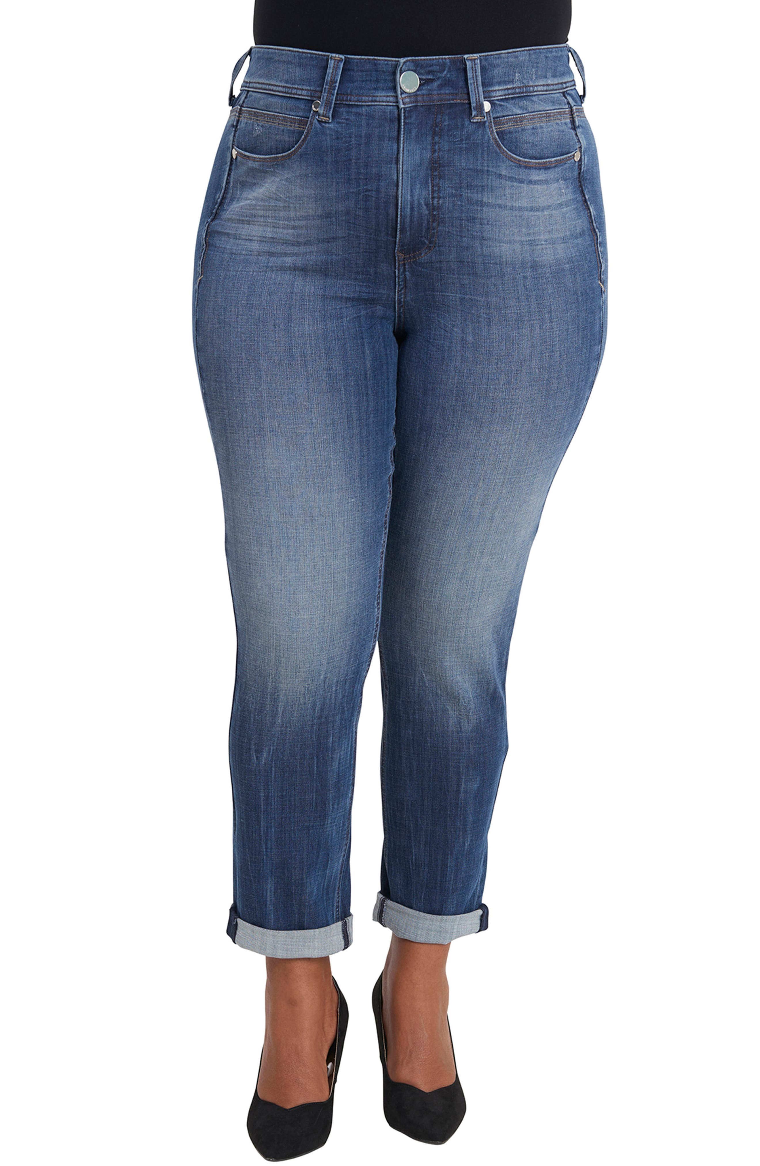 Tummyless Roll Cuff Slim Fit Jeans,                         Main,                         color, JEANNE