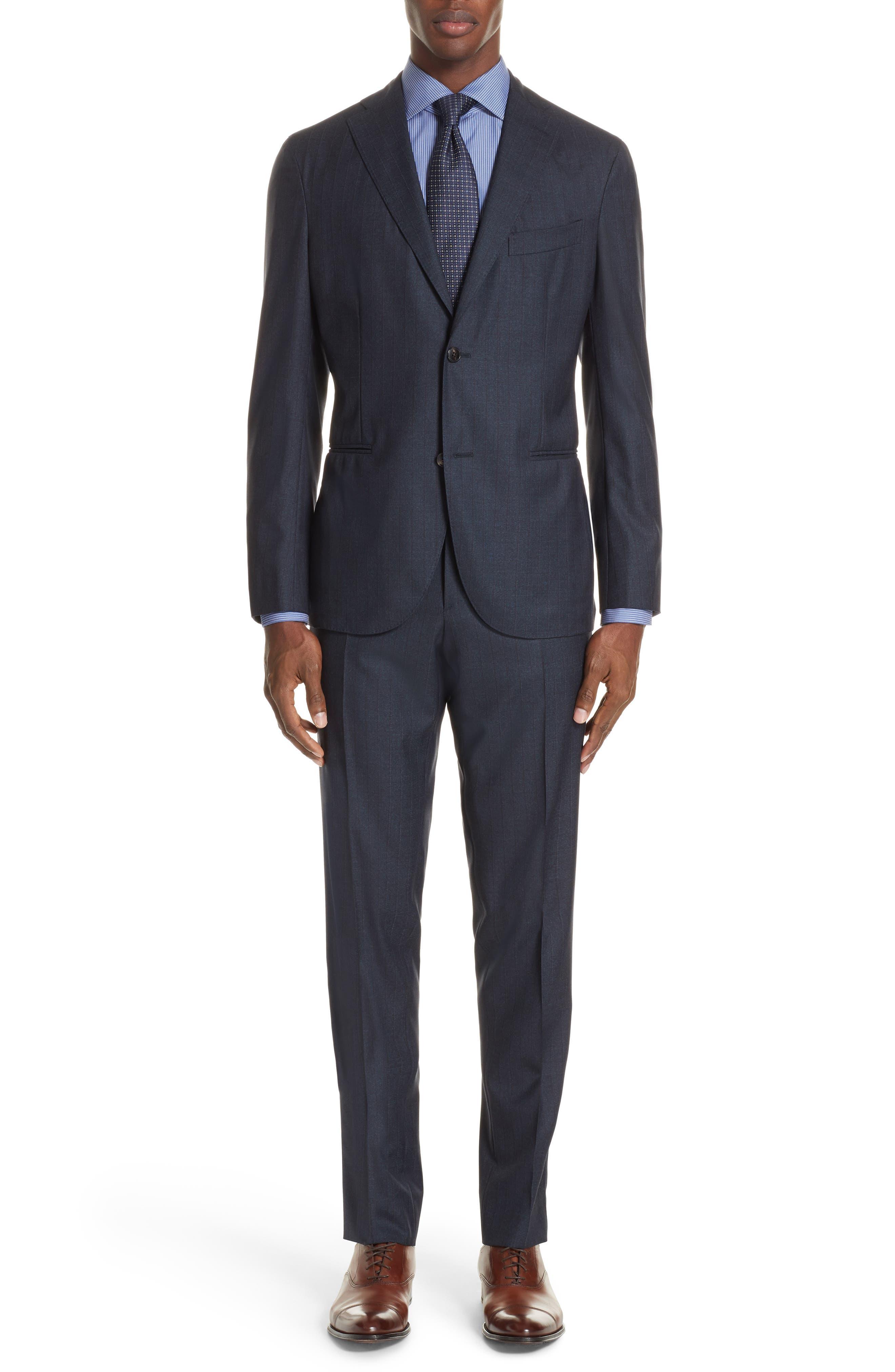 Trim Fit Stripe Wool Suit,                         Main,                         color, NAVY