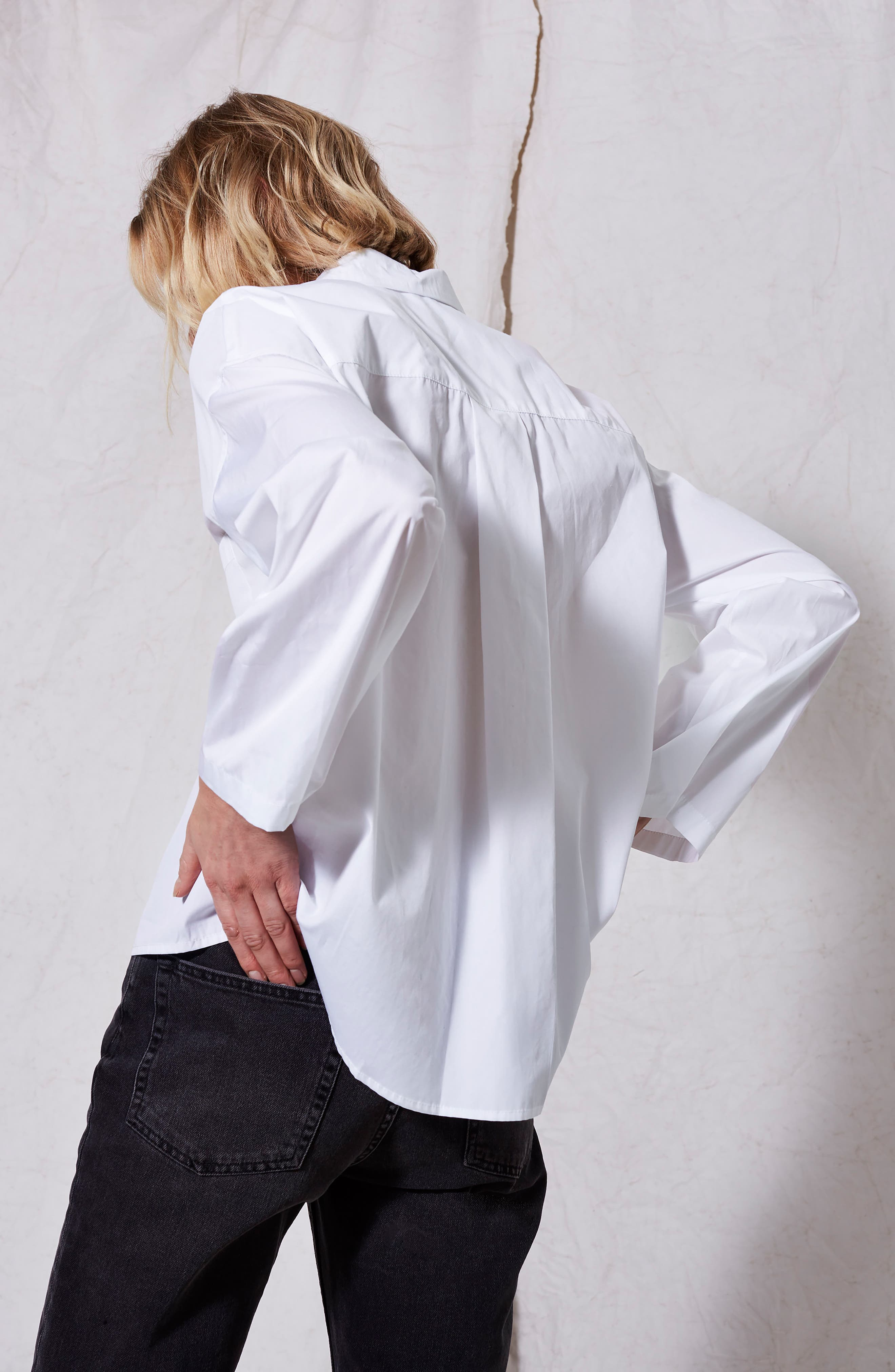 Popper Sleeve Boxy Shirt,                             Alternate thumbnail 5, color,                             100