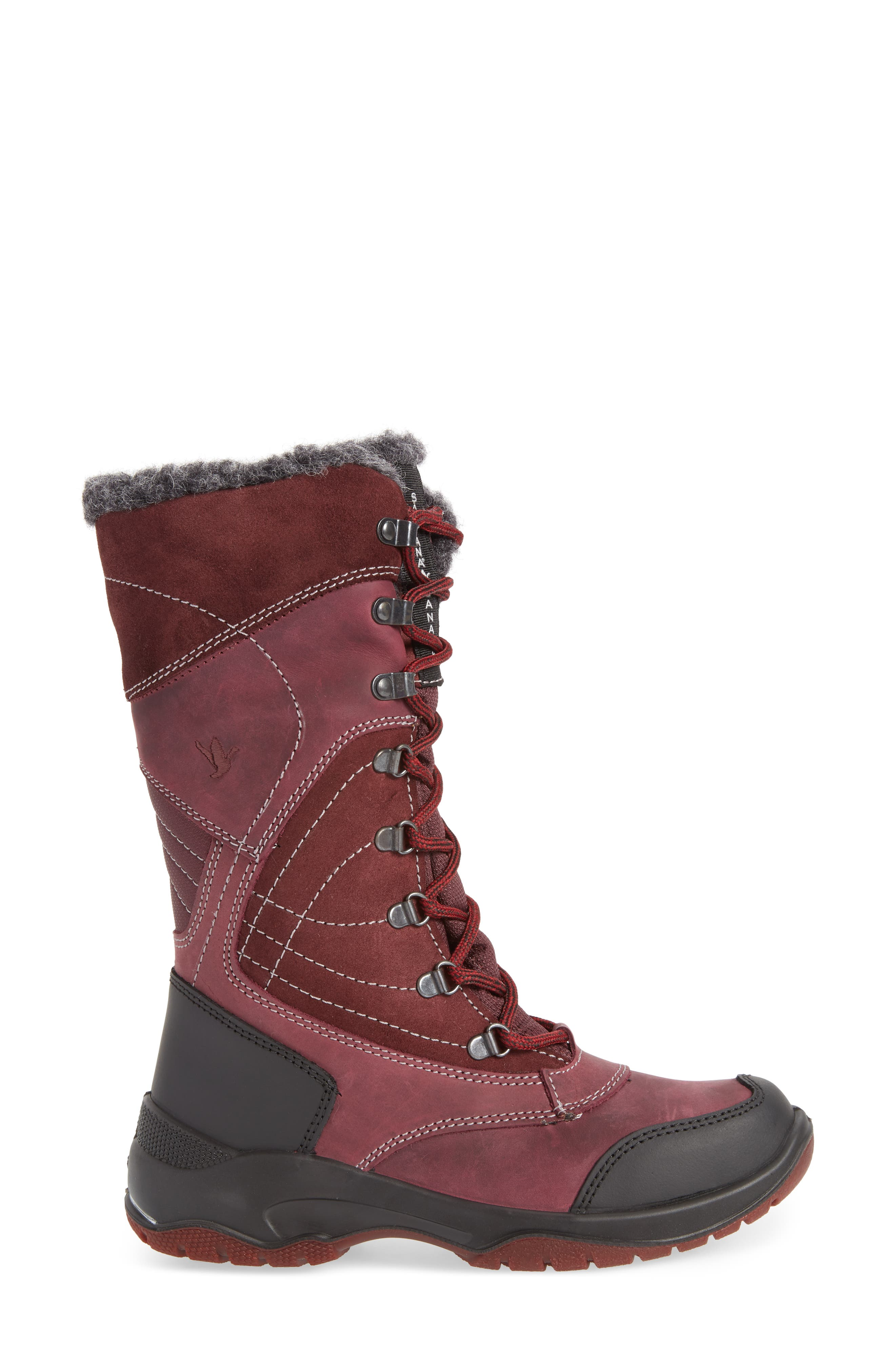 Topspeed Faux Fur Lined Waterproof Boot,                             Alternate thumbnail 3, color,                             BORDEAUX SUEDE