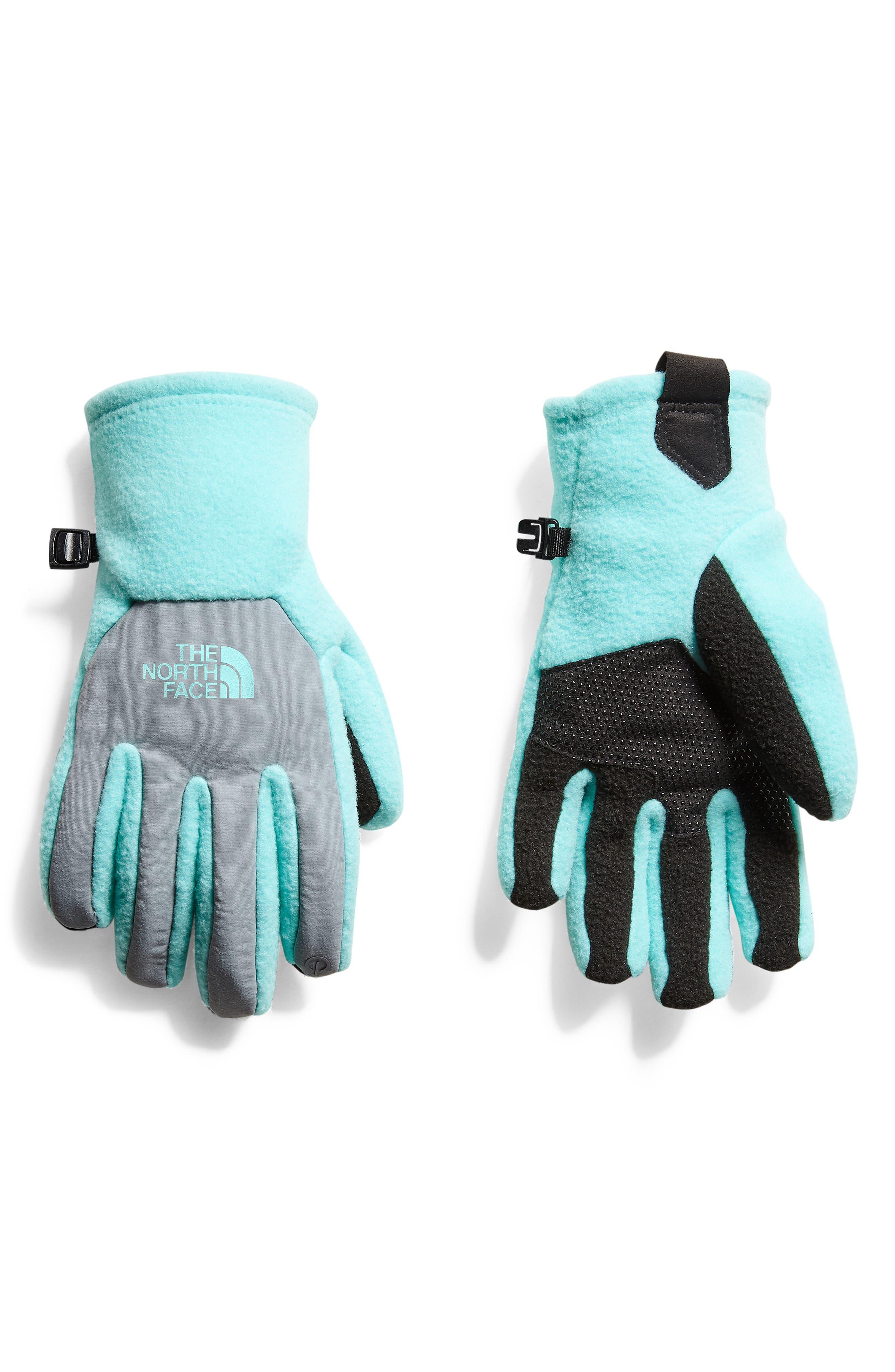Girls The North Face Denali Thermal Etip(TM) Gloves Size Large  Bluegreen