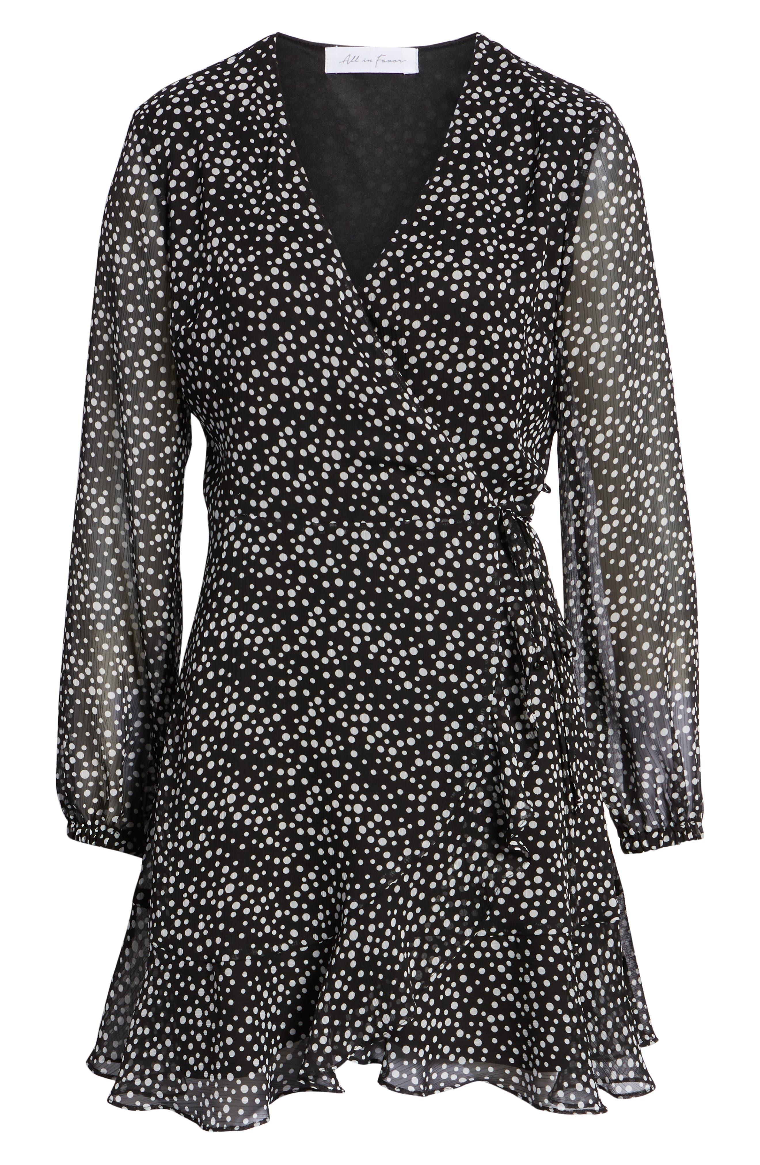 Brittany Wrap Minidress,                             Alternate thumbnail 6, color,                             BLACK WHITE DOT