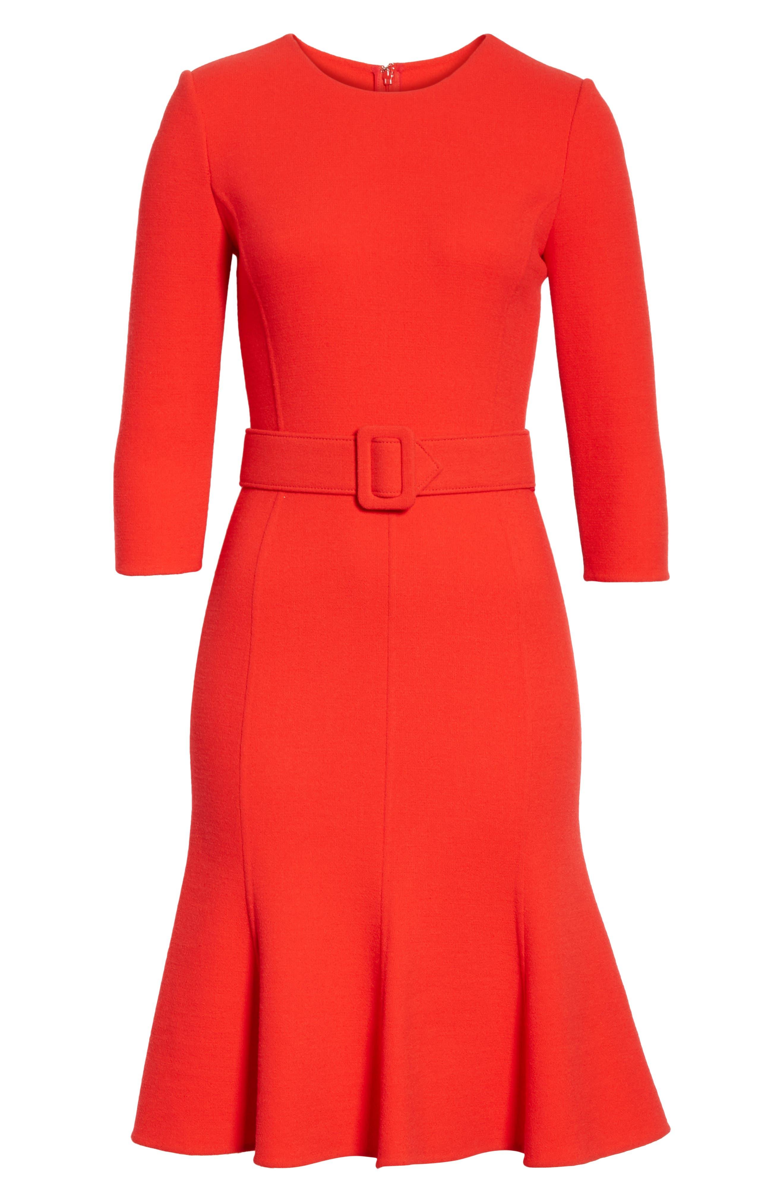 Crepe Fit & Flare Dress,                             Alternate thumbnail 6, color,                             620