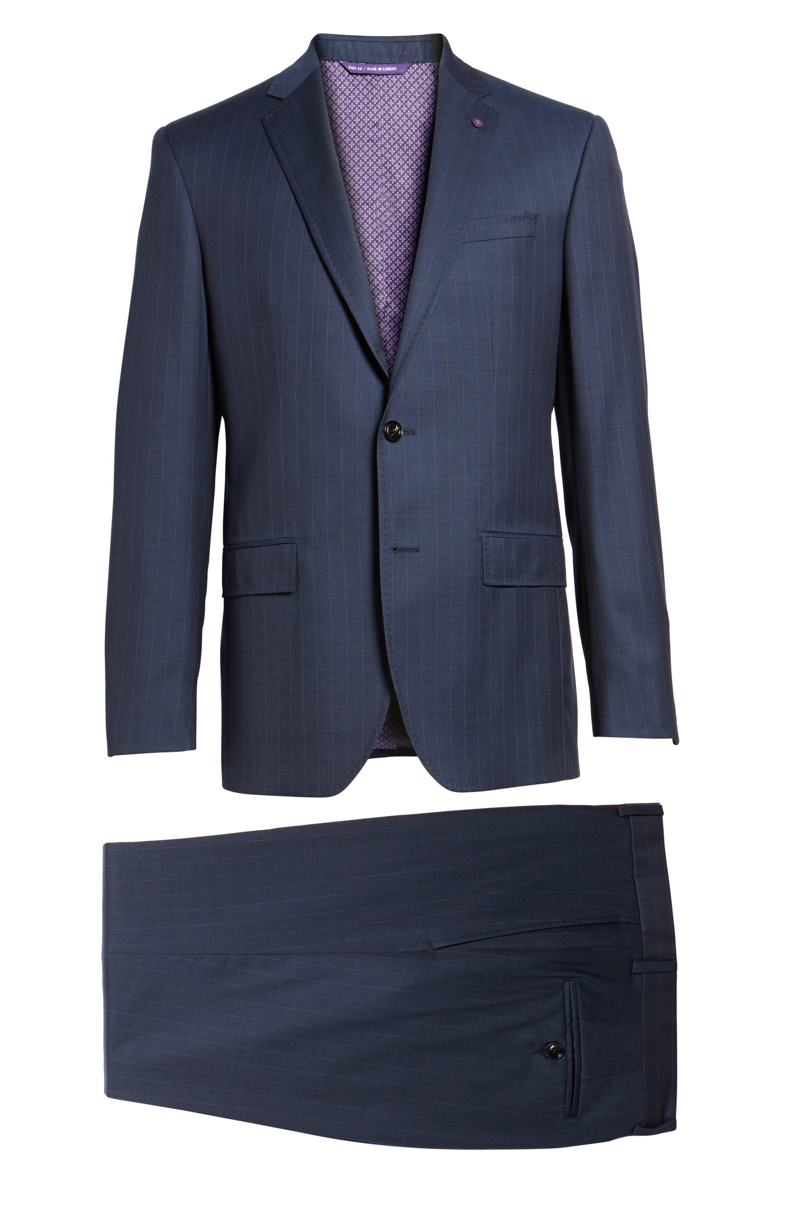 Jay Trim Fit Stripe Wool Suit,                             Alternate thumbnail 8, color,                             400