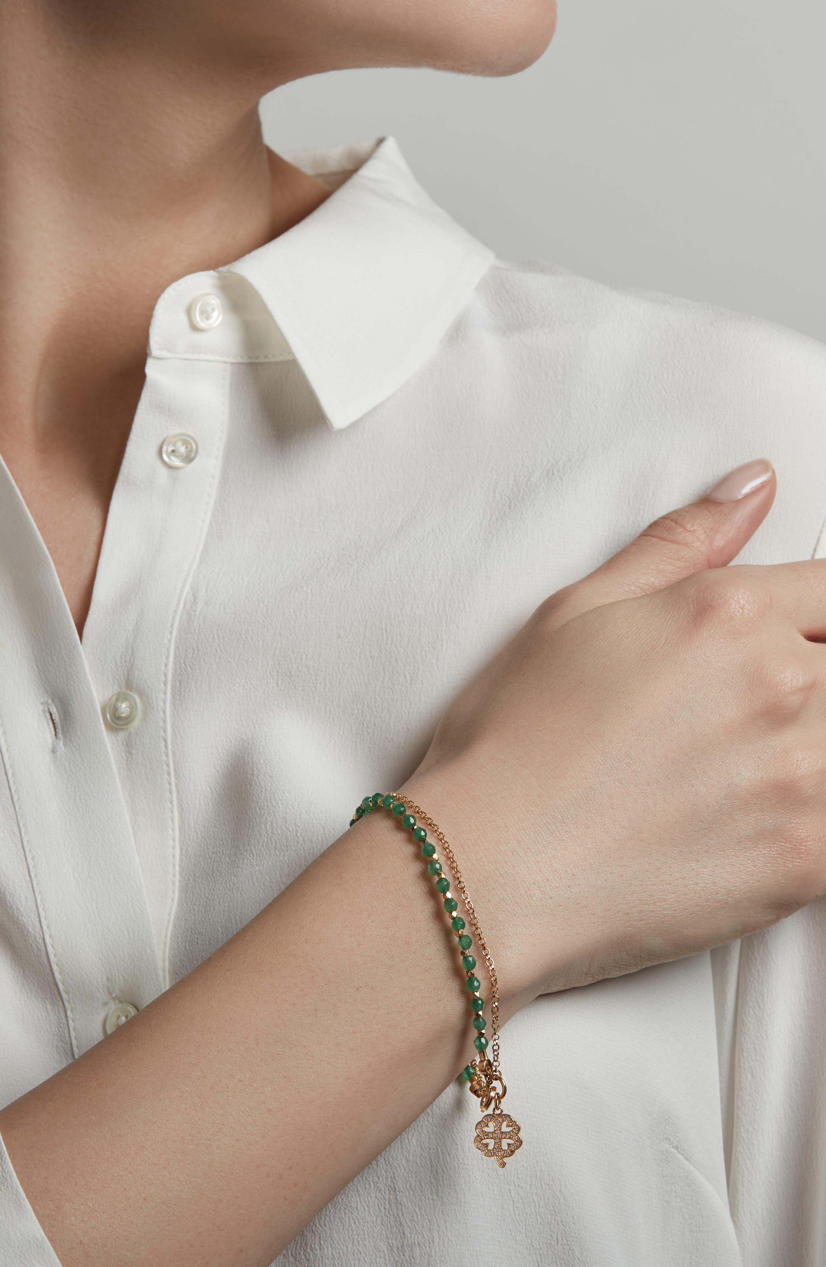 Green Onyx Clover Bracelet,                             Alternate thumbnail 2, color,                             710