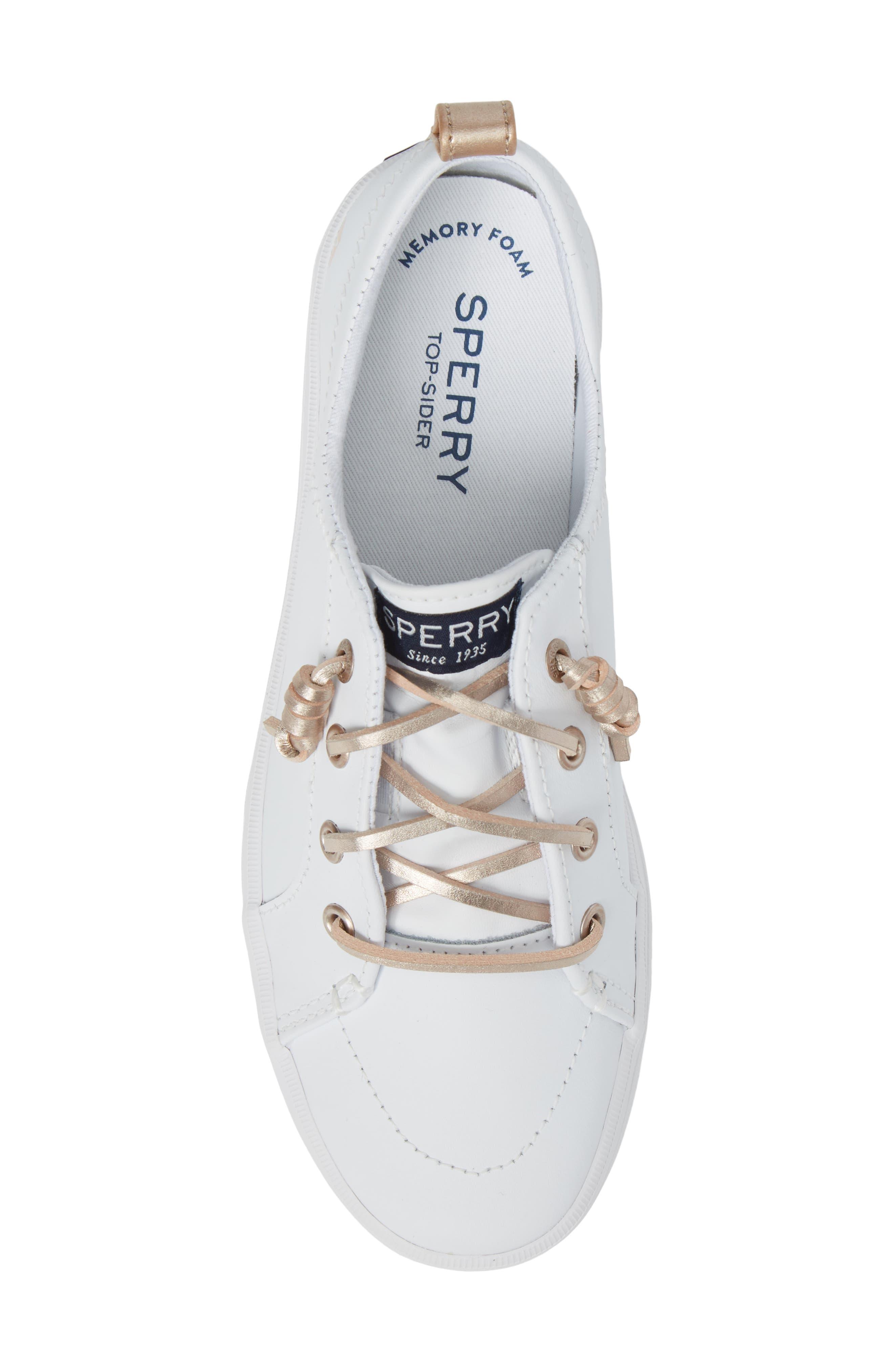 Sperry Crest Vibe Sneaker,                             Alternate thumbnail 5, color,                             WHITE LEATHER