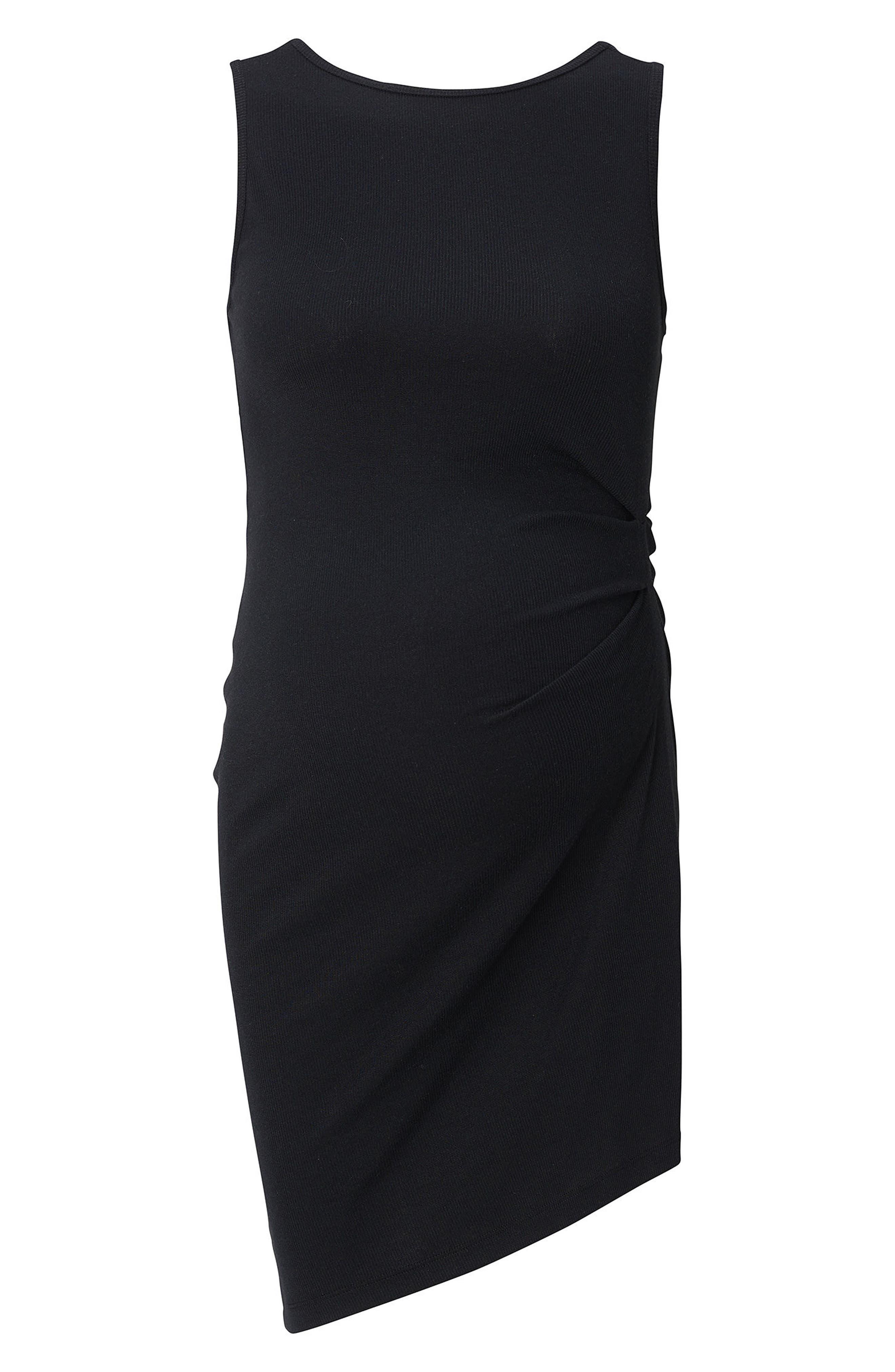 Ribbed Body-Con Maternity Minidress,                             Alternate thumbnail 4, color,                             BLACK