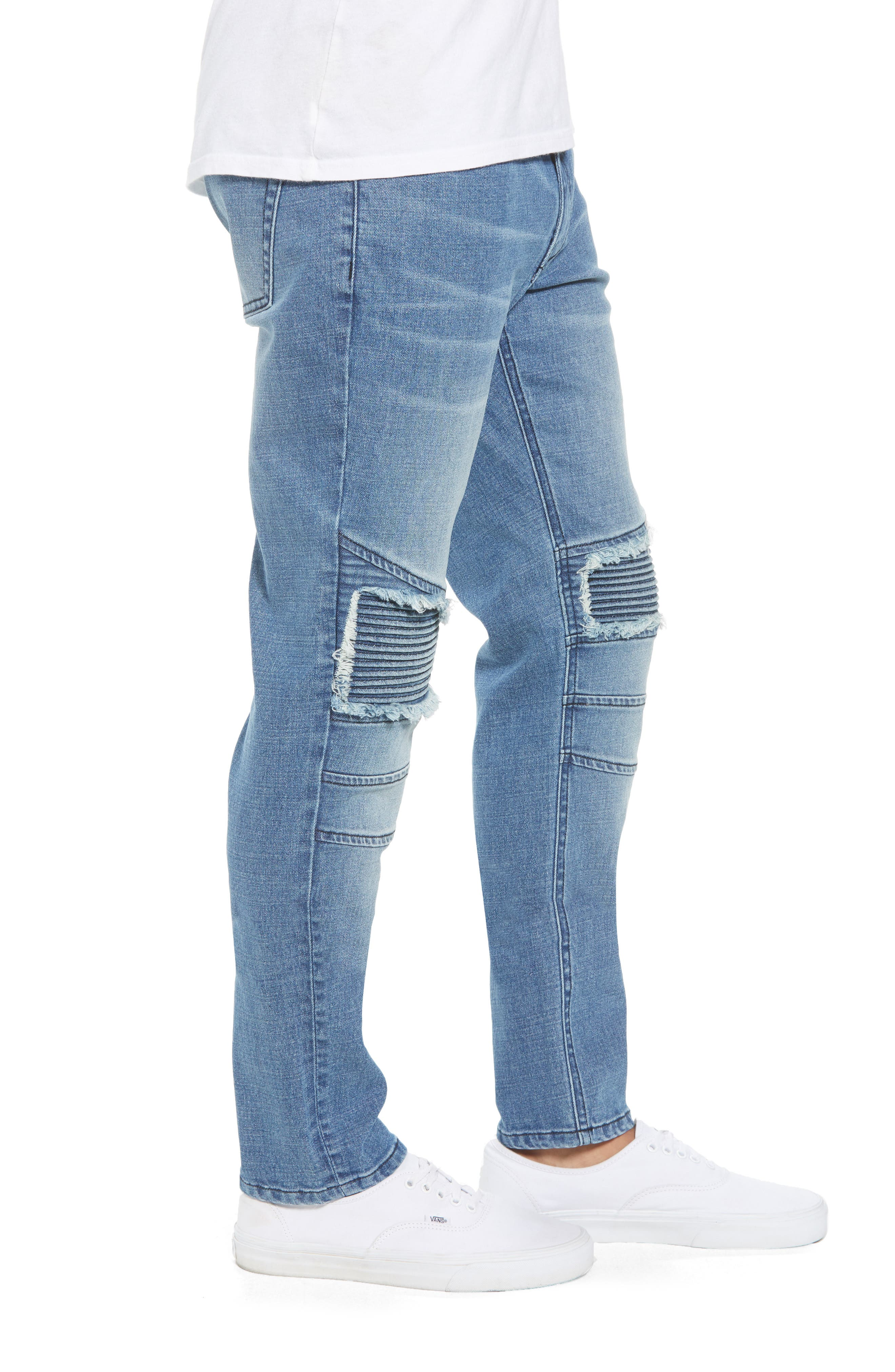 Skinny Moto Jeans,                             Alternate thumbnail 3, color,                             BLUE RIVERS WASH
