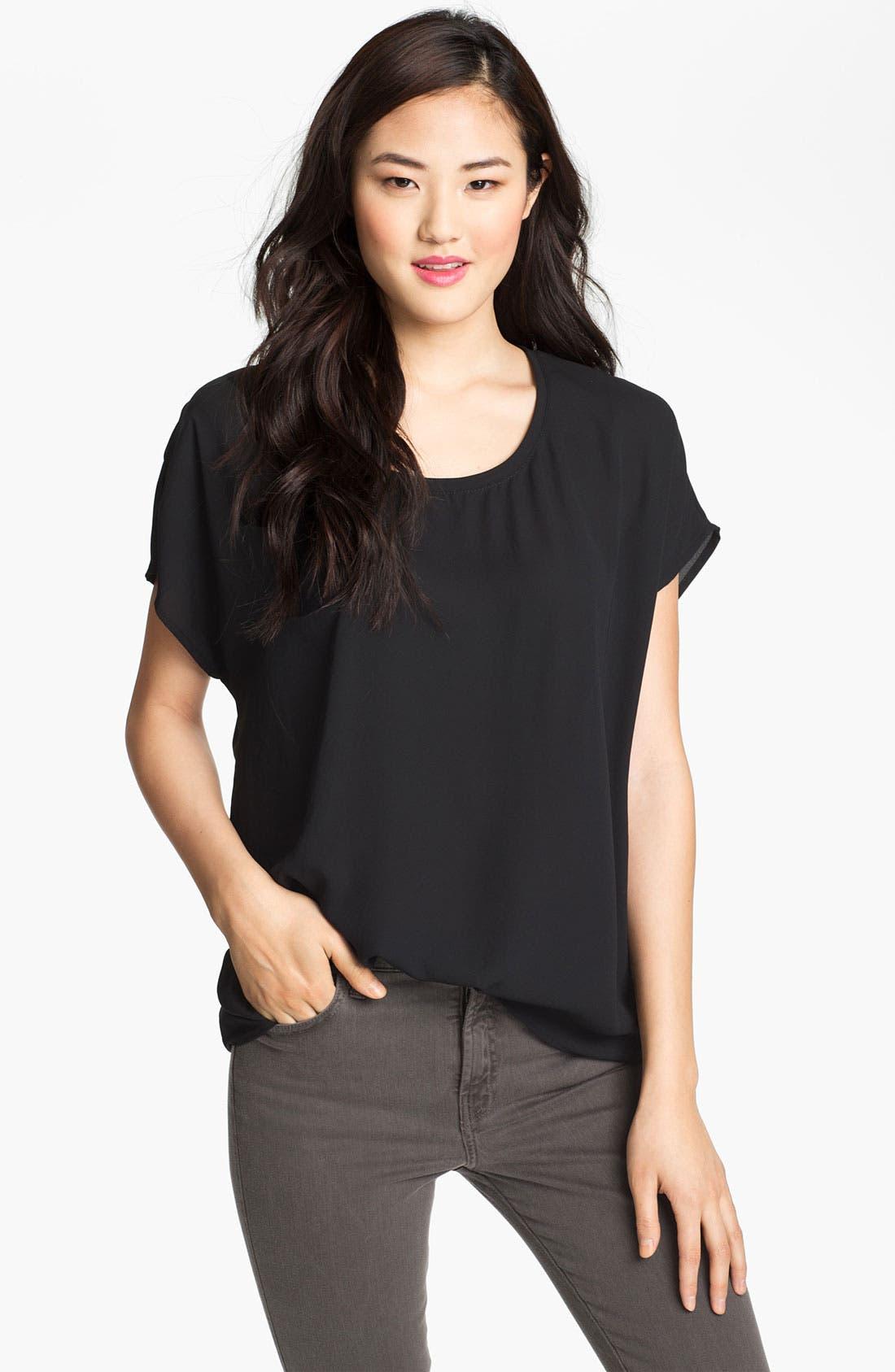 PLEIONE Scoop Neck Short Sleeve Blouse, Main, color, 001