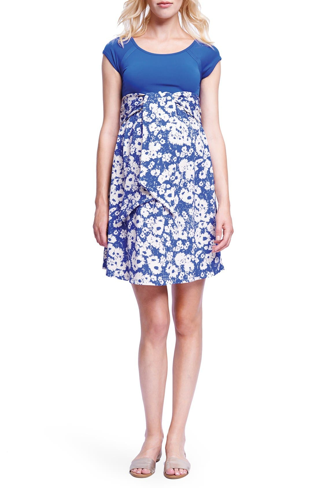 Tie Front Maternity Dress,                         Main,                         color, ROYAL BLUE/ ABSTRACT DAISY