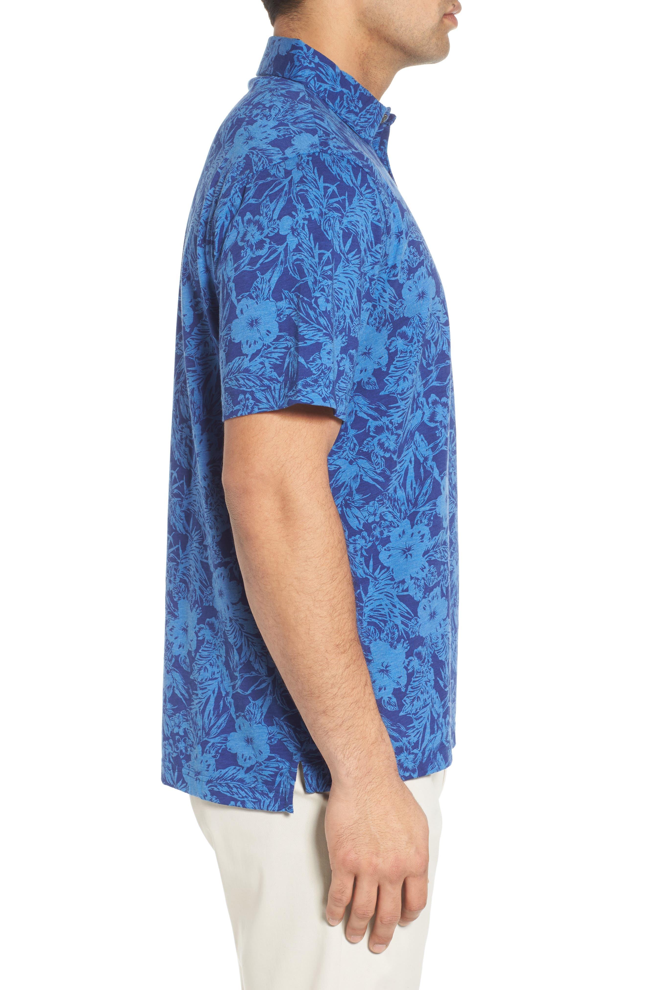 Crown Floral Cotton & Silk Polo Shirt,                             Alternate thumbnail 3, color,                             400