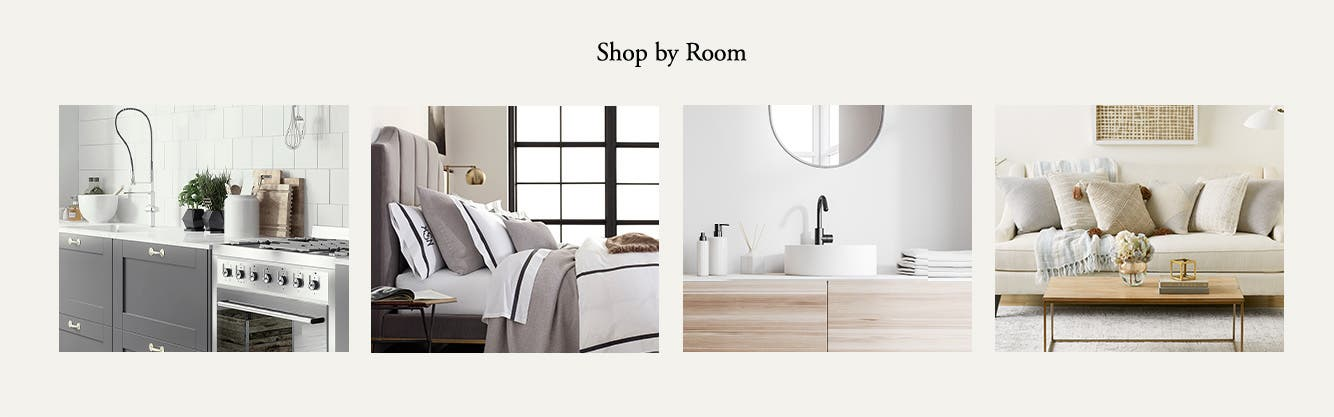 Shop by Room: Kitchen, Bedroom, Bathroom and Living Room.