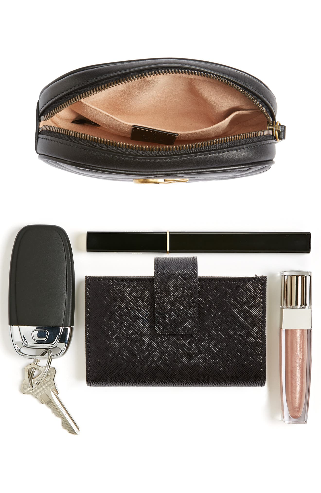 GG Marmont 2.0 Matelassé Leather Belt Bag,                             Alternate thumbnail 7, color,                             NERO