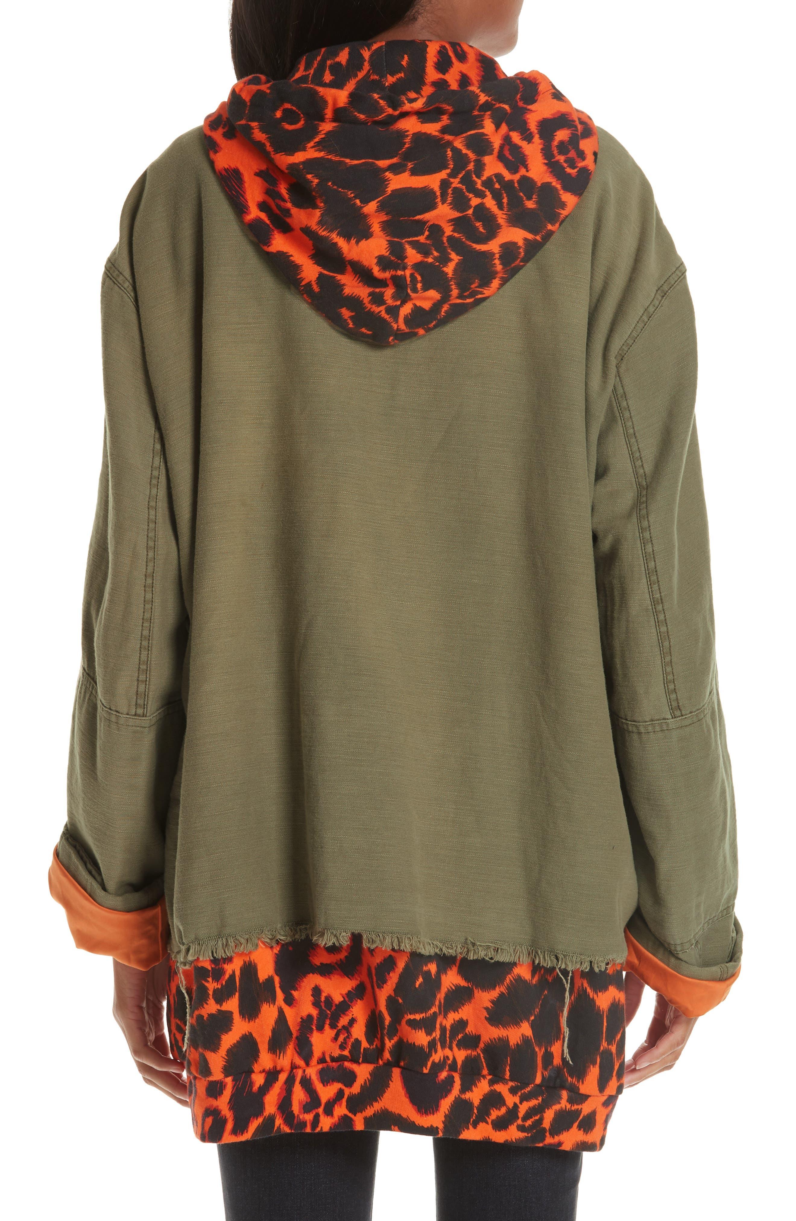 Abu Jacket with Long Leopard Print Hoodie,                             Alternate thumbnail 2, color,                             OLIVE/ ORANGE