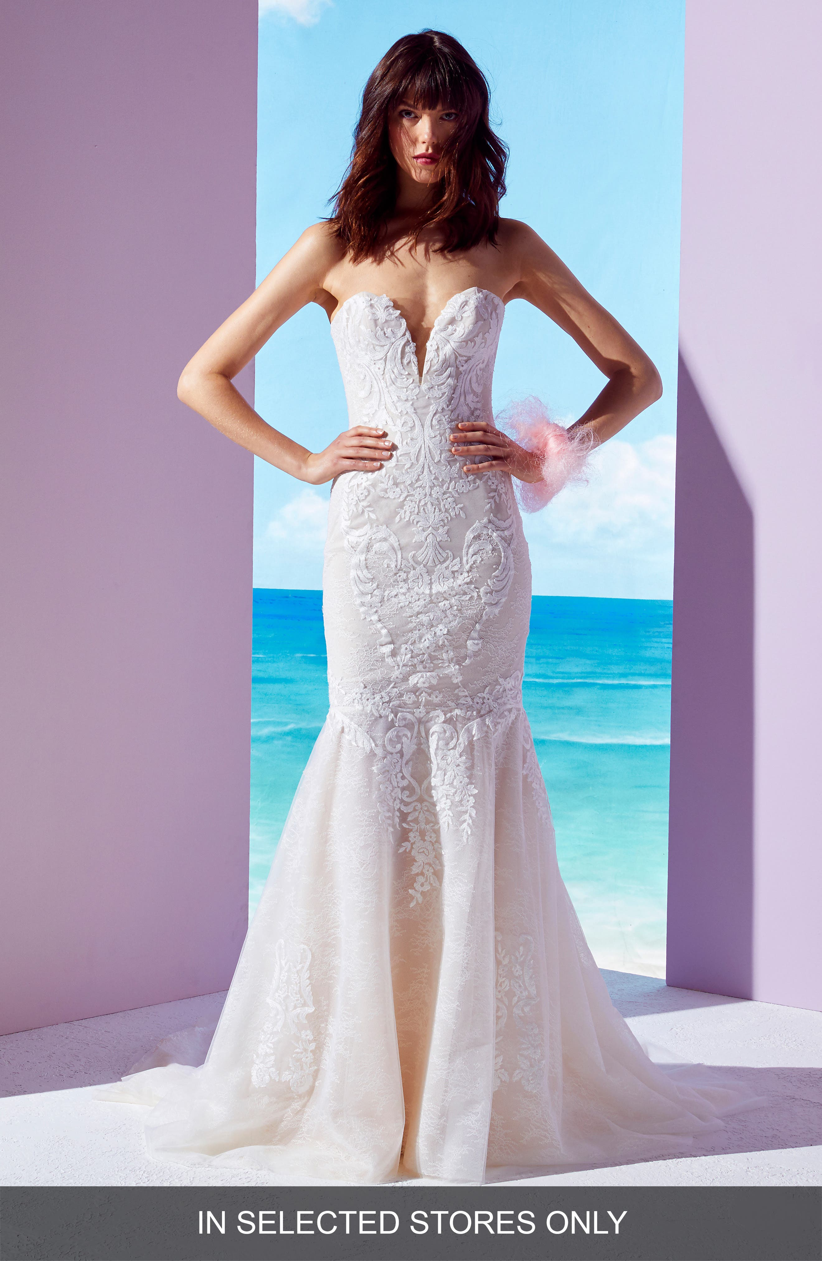 INES BY INES DI SANTO Daphne Beaded Lace Mermaid Gown, Main, color, OFF WHITE / SOFT NUDE