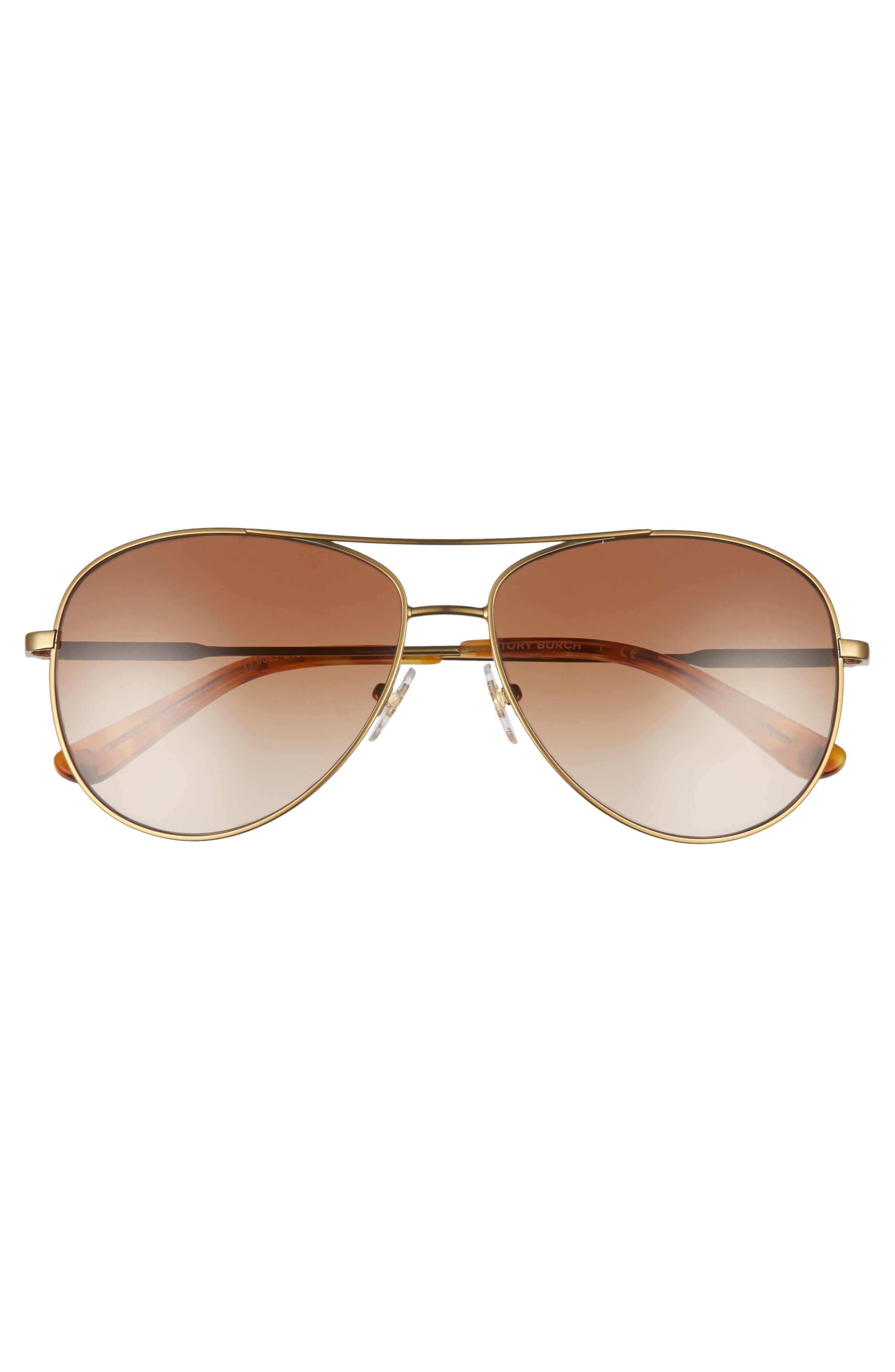 59mm Metal Aviator Sunglasses,                             Alternate thumbnail 4, color,                             GOLD