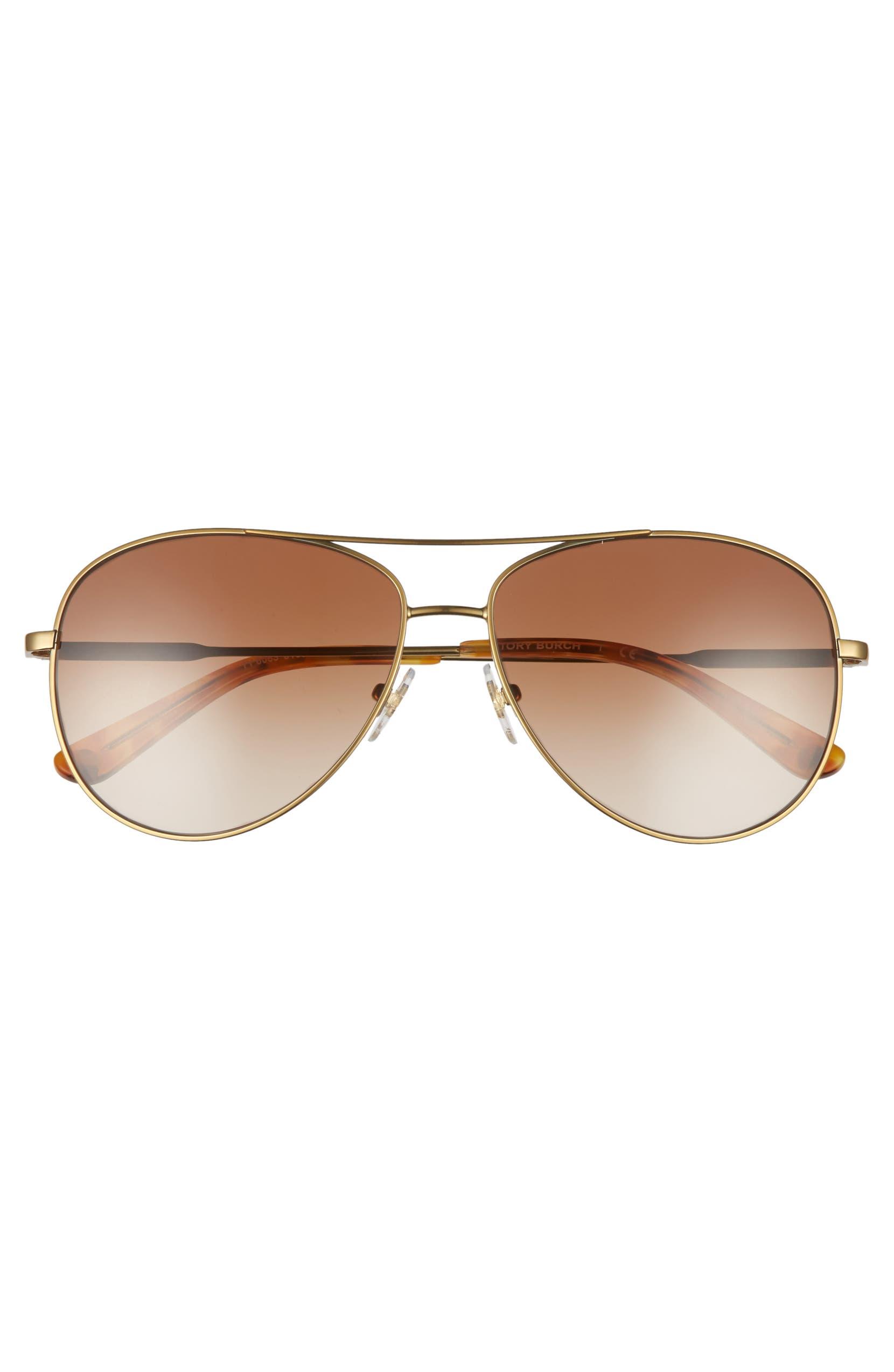 da295426d0 Tory Burch 59mm Metal Aviator Sunglasses