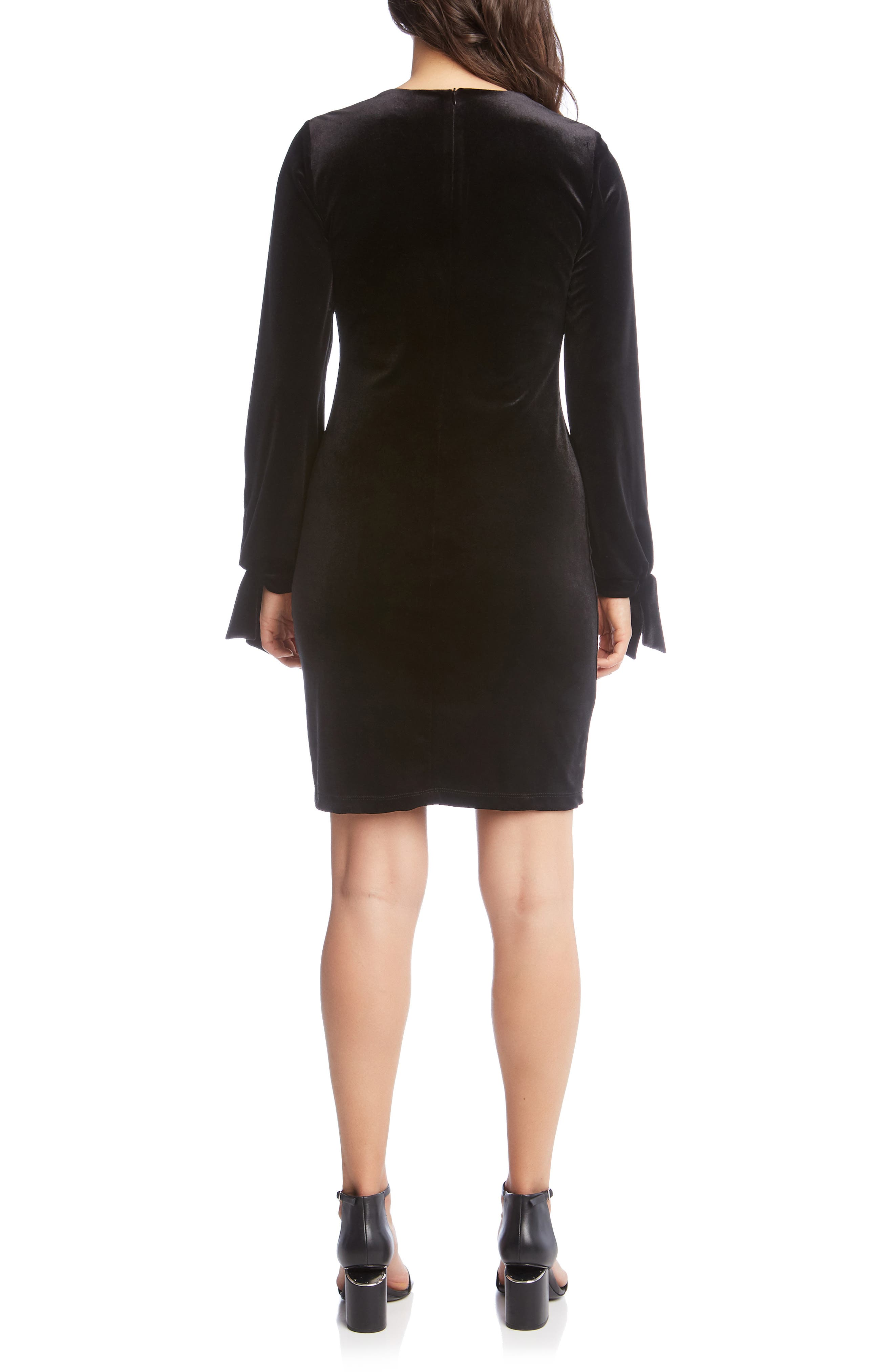 Velvet Tie Sleeve Sheath Dress,                             Alternate thumbnail 2, color,                             BLACK