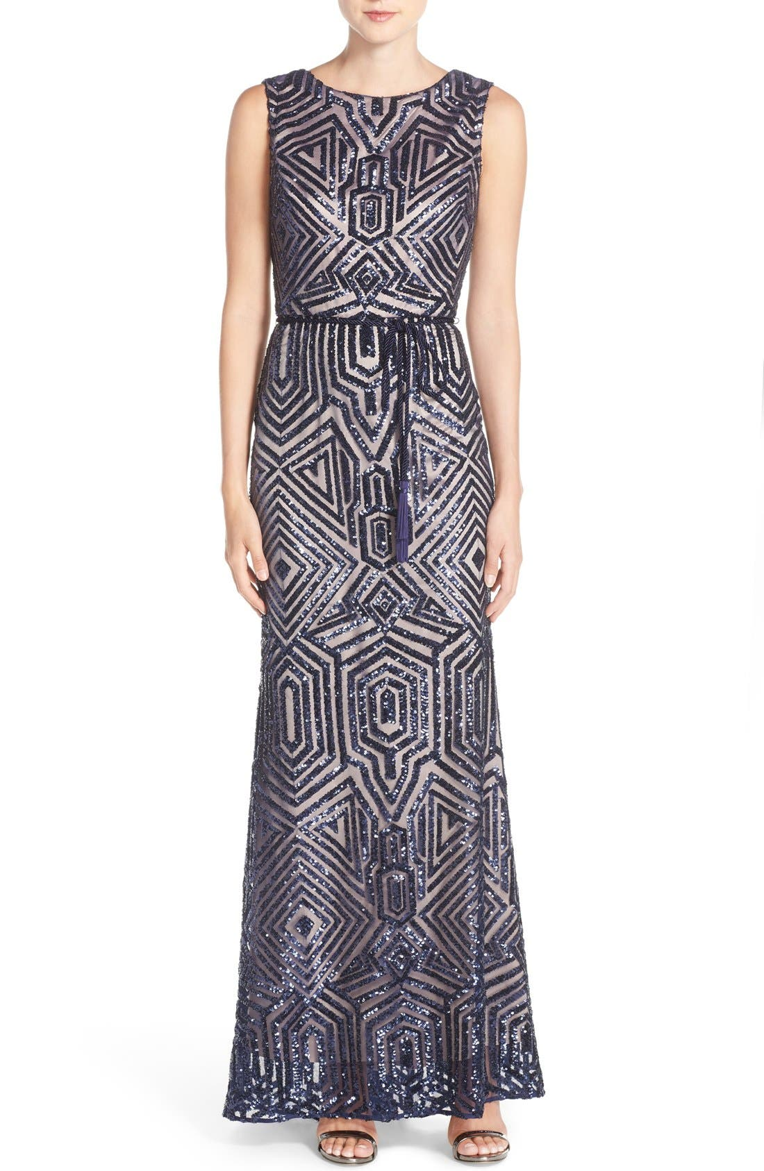 Geometric Sequin Gown,                         Main,                         color, 417