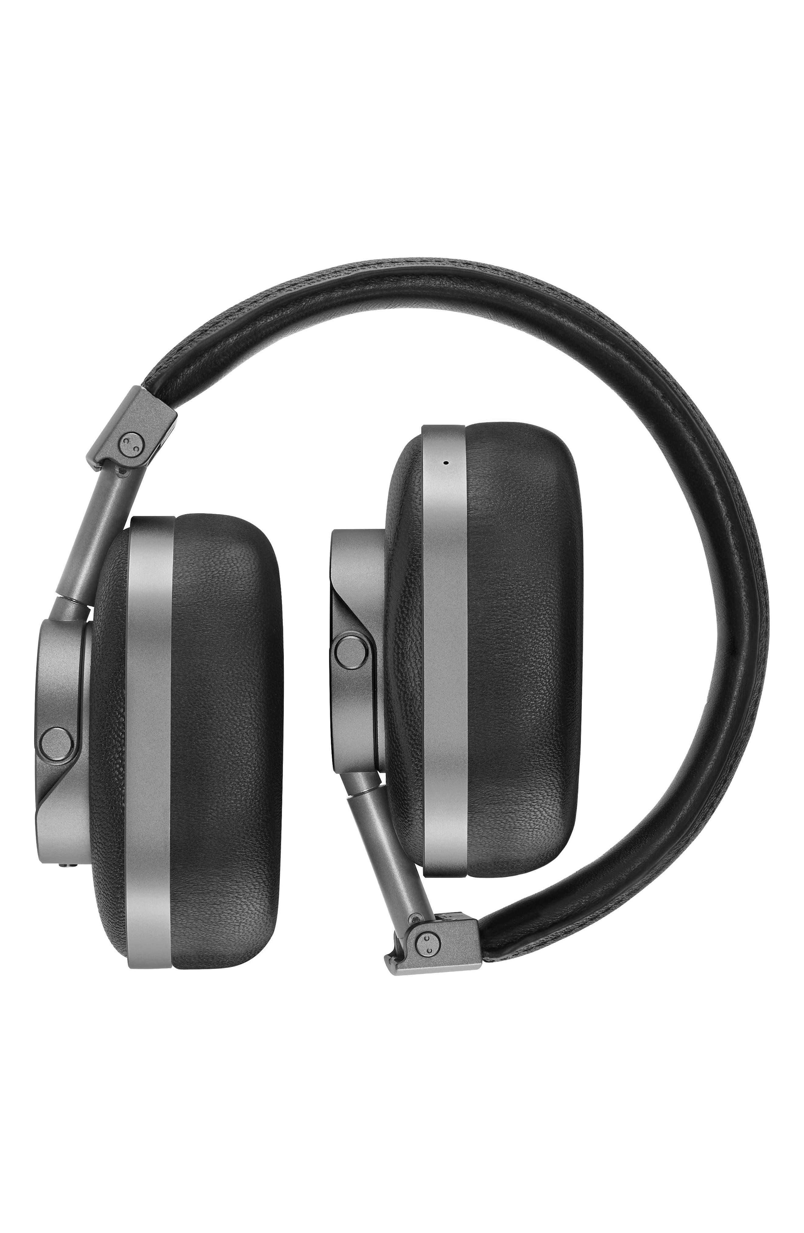 MW60 Wireless Leather Over Ear Headphones,                             Alternate thumbnail 2, color,                             BLACK/ GUNMETAL