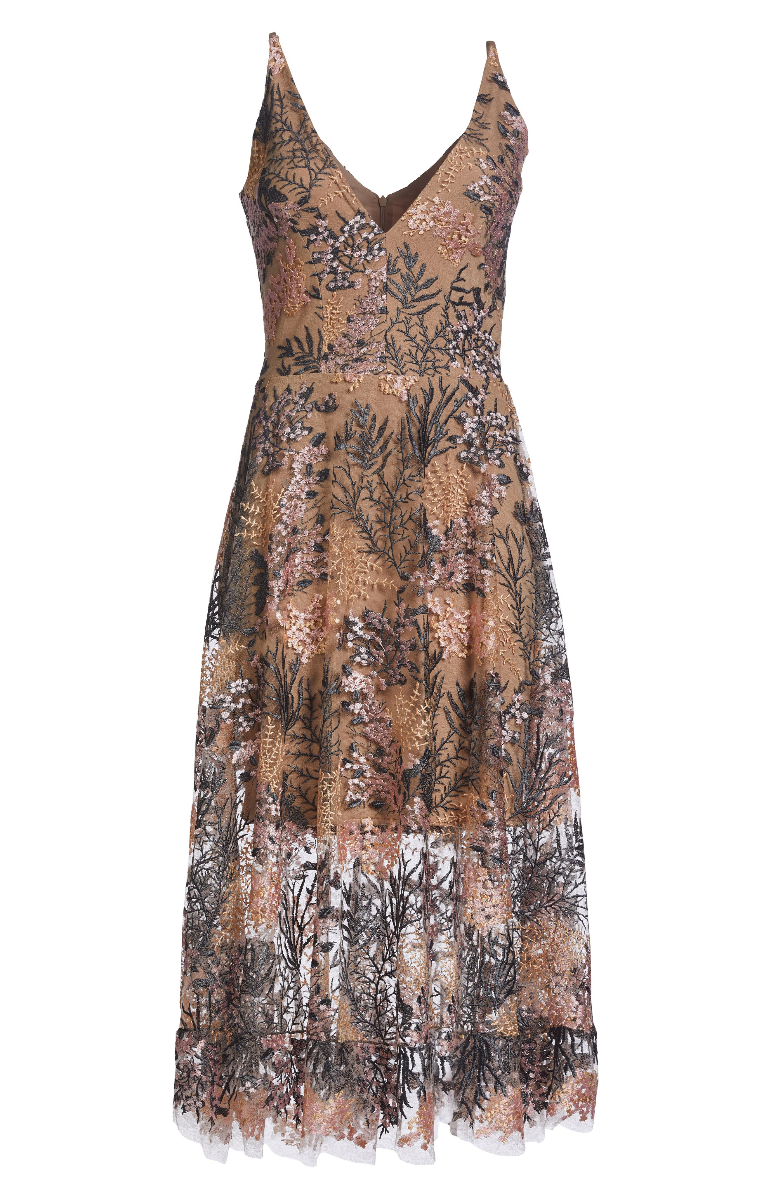Audrey Embroidered Fit & Flare Dress,                             Alternate thumbnail 5, color,                             PINK BLOSSOM