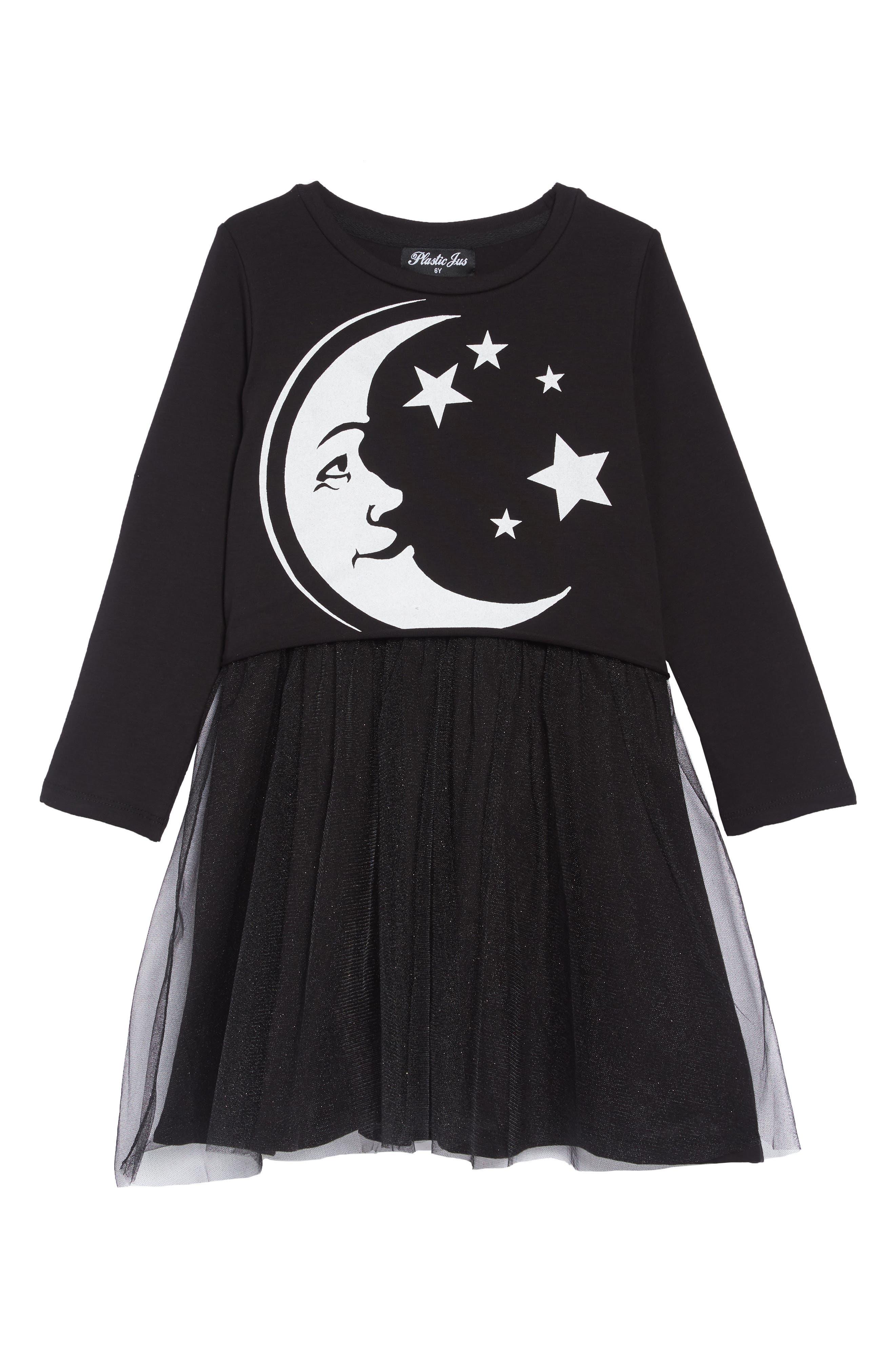Moon Tutu Dress,                         Main,                         color, BLACK