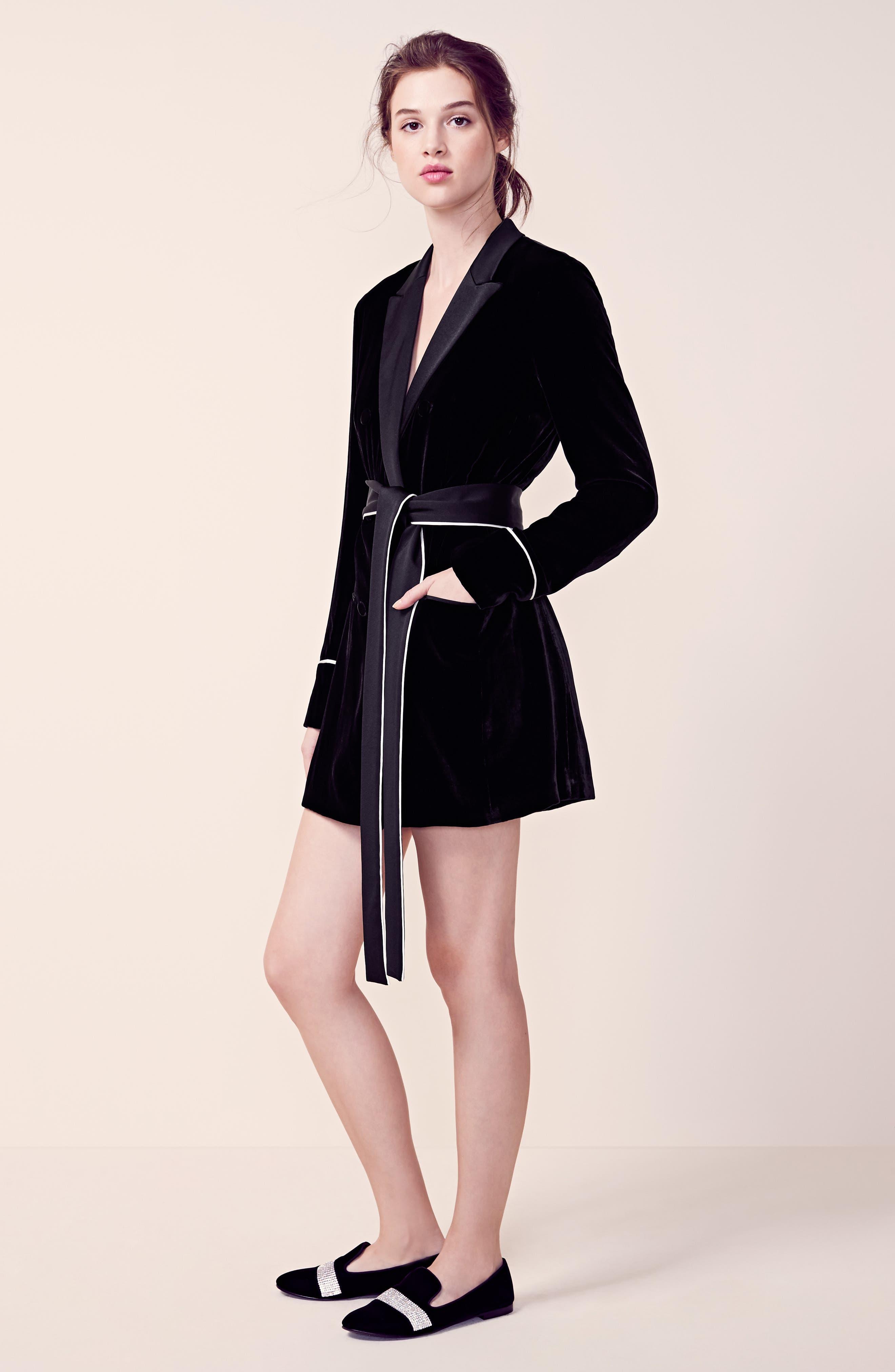 Diane Kruger x GREY Jason Wu Velvet Shirtdress,                             Alternate thumbnail 6, color,                             001