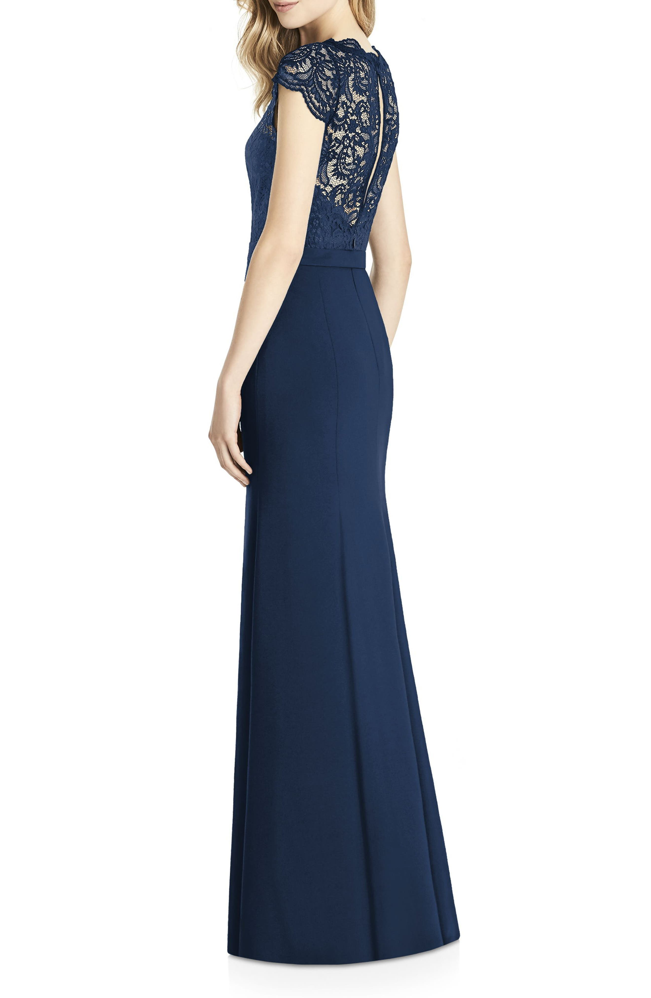 Lace & Crepe Sheath Gown,                             Alternate thumbnail 2, color,                             MIDNIGHT