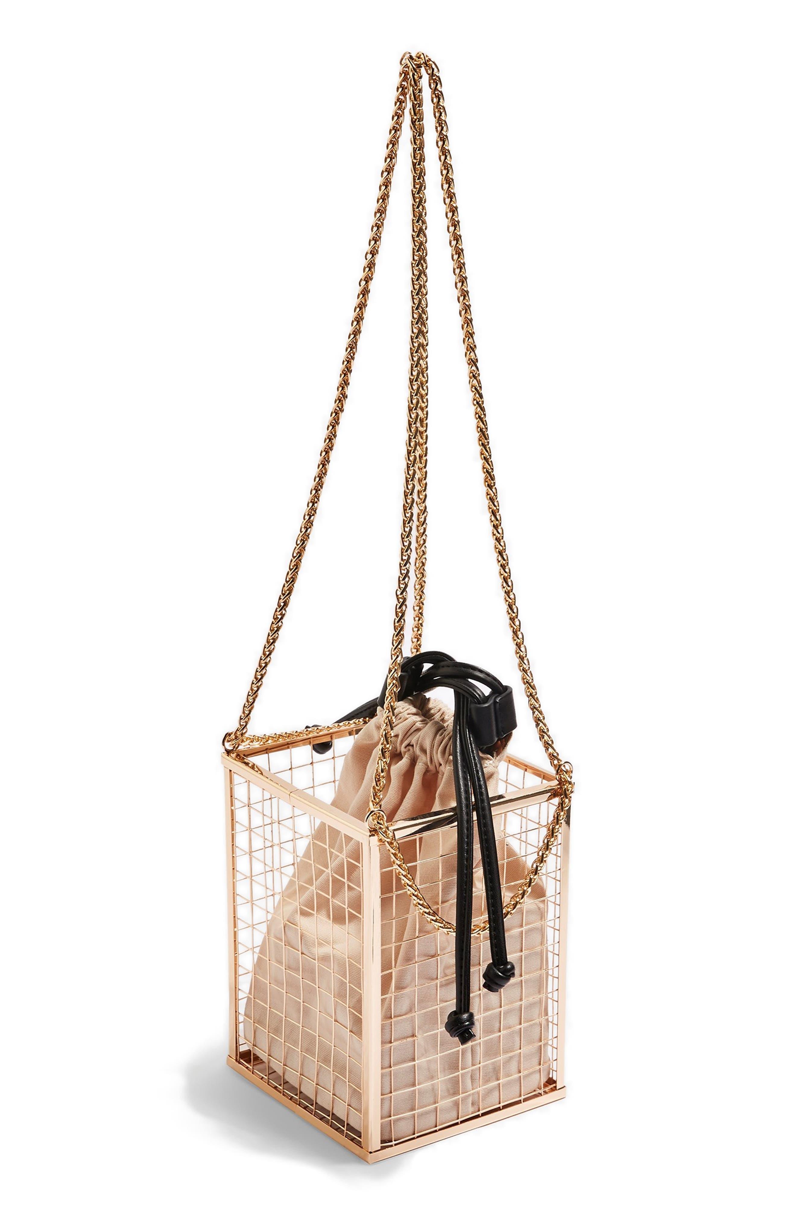 Cara Cage Shoulder Bag,                             Alternate thumbnail 5, color,                             GOLD