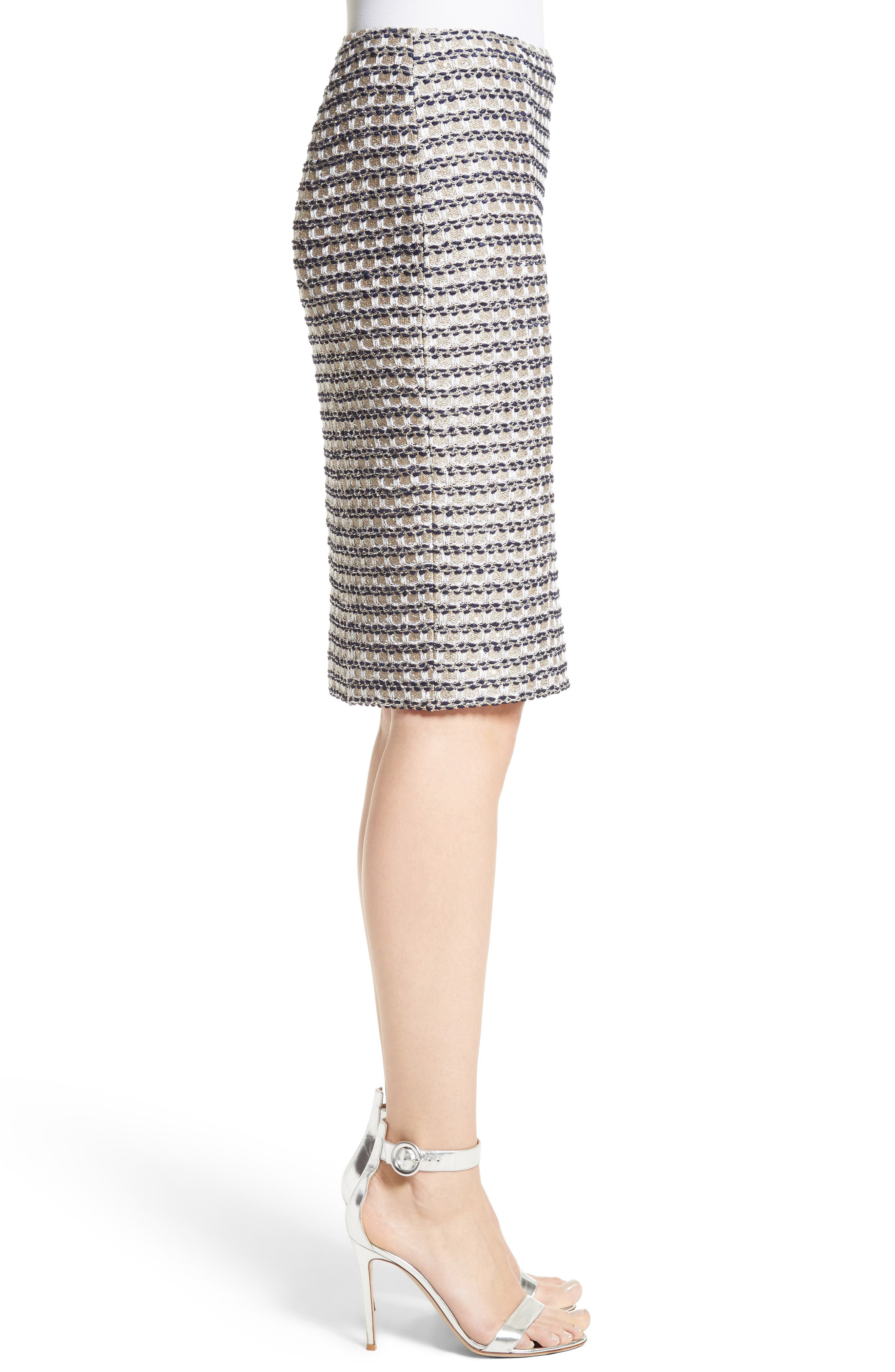 Vany Tweed Knit Pencil Skirt,                             Alternate thumbnail 3, color,                             040