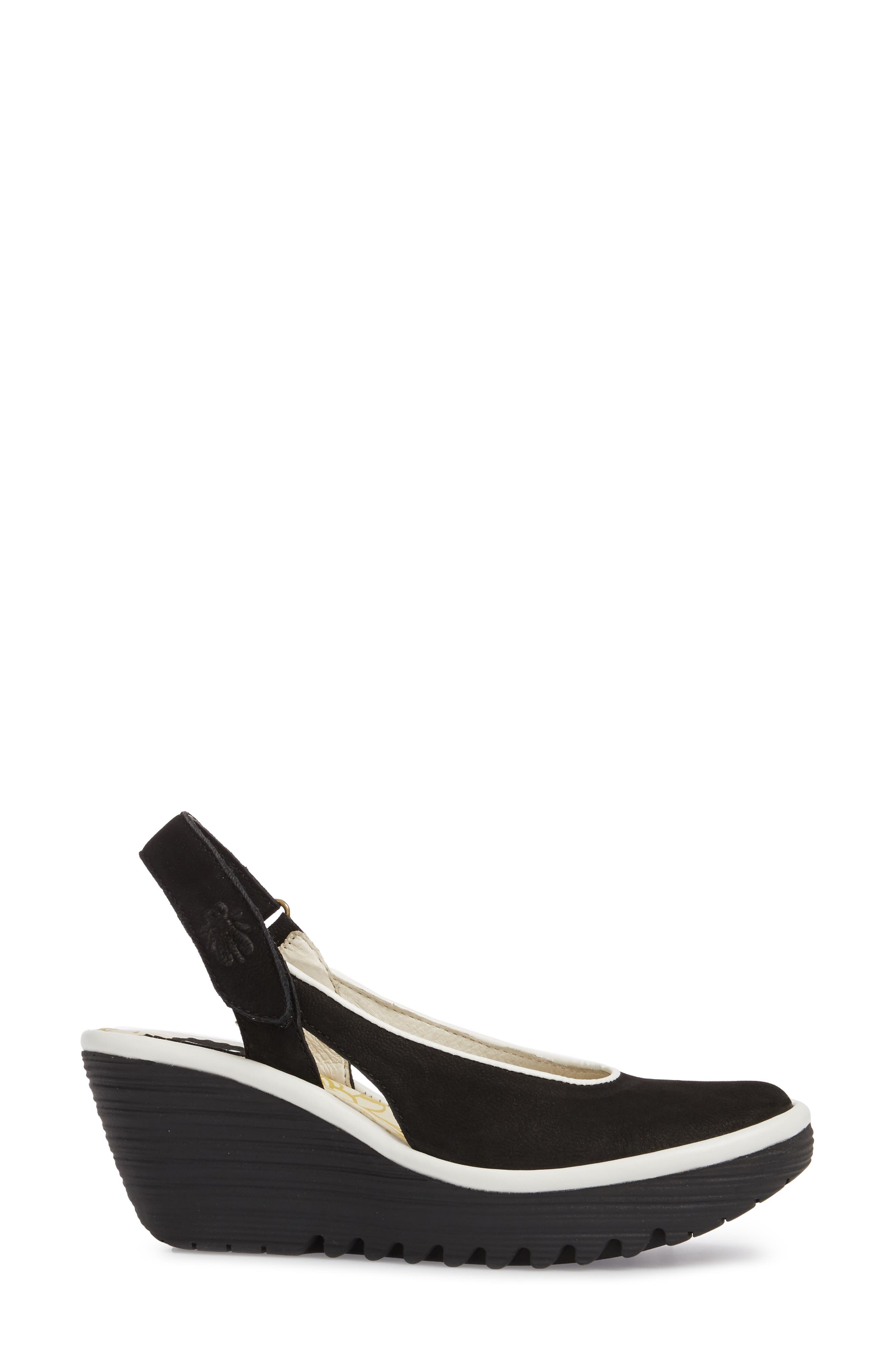 Yipi Wedge Sandal,                             Alternate thumbnail 3, color,                             BLACK/ OFF WHITE MIX LEATHER