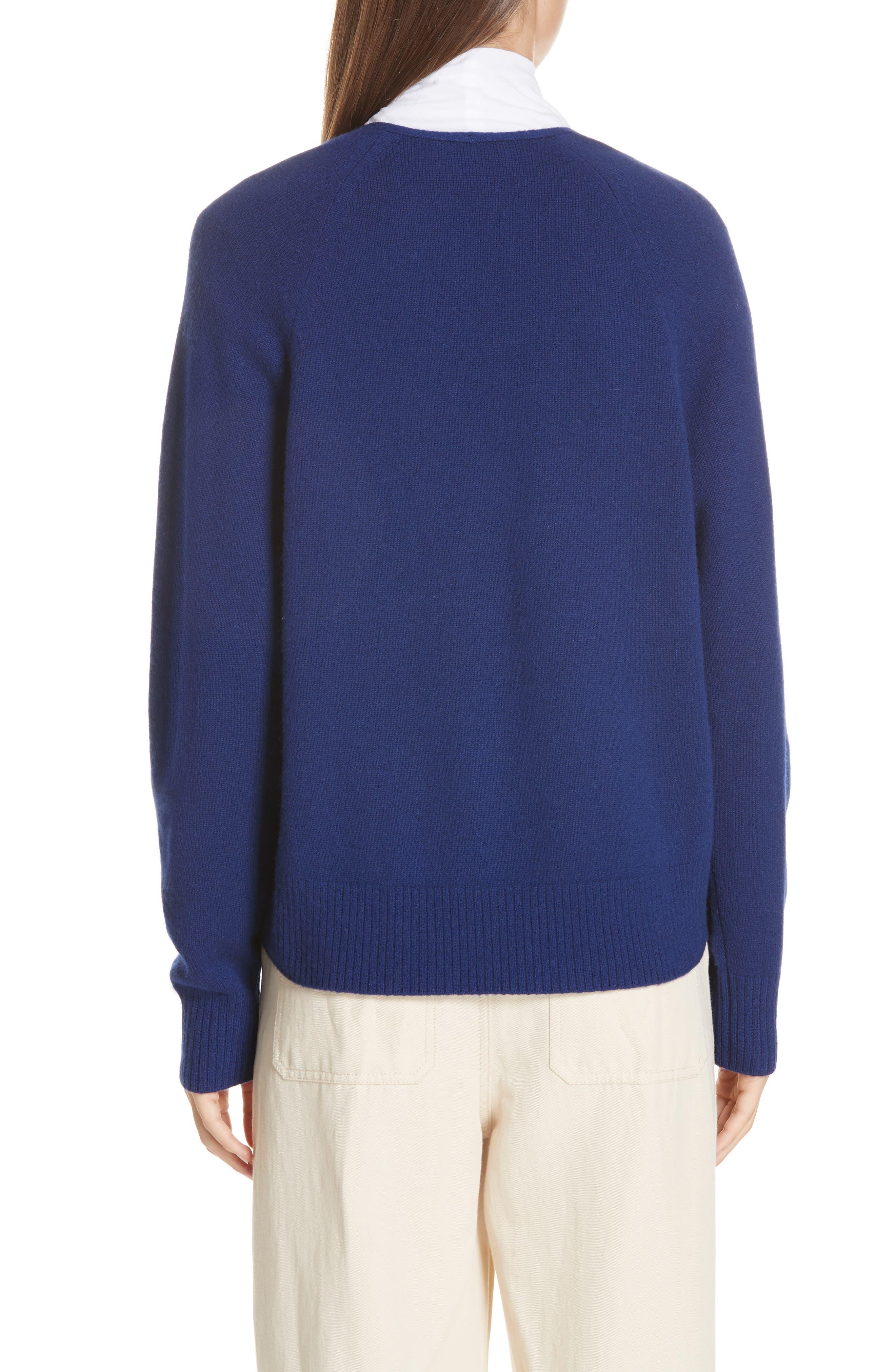 Deep V-Neck Cashmere Sweater,                             Alternate thumbnail 2, color,                             INK