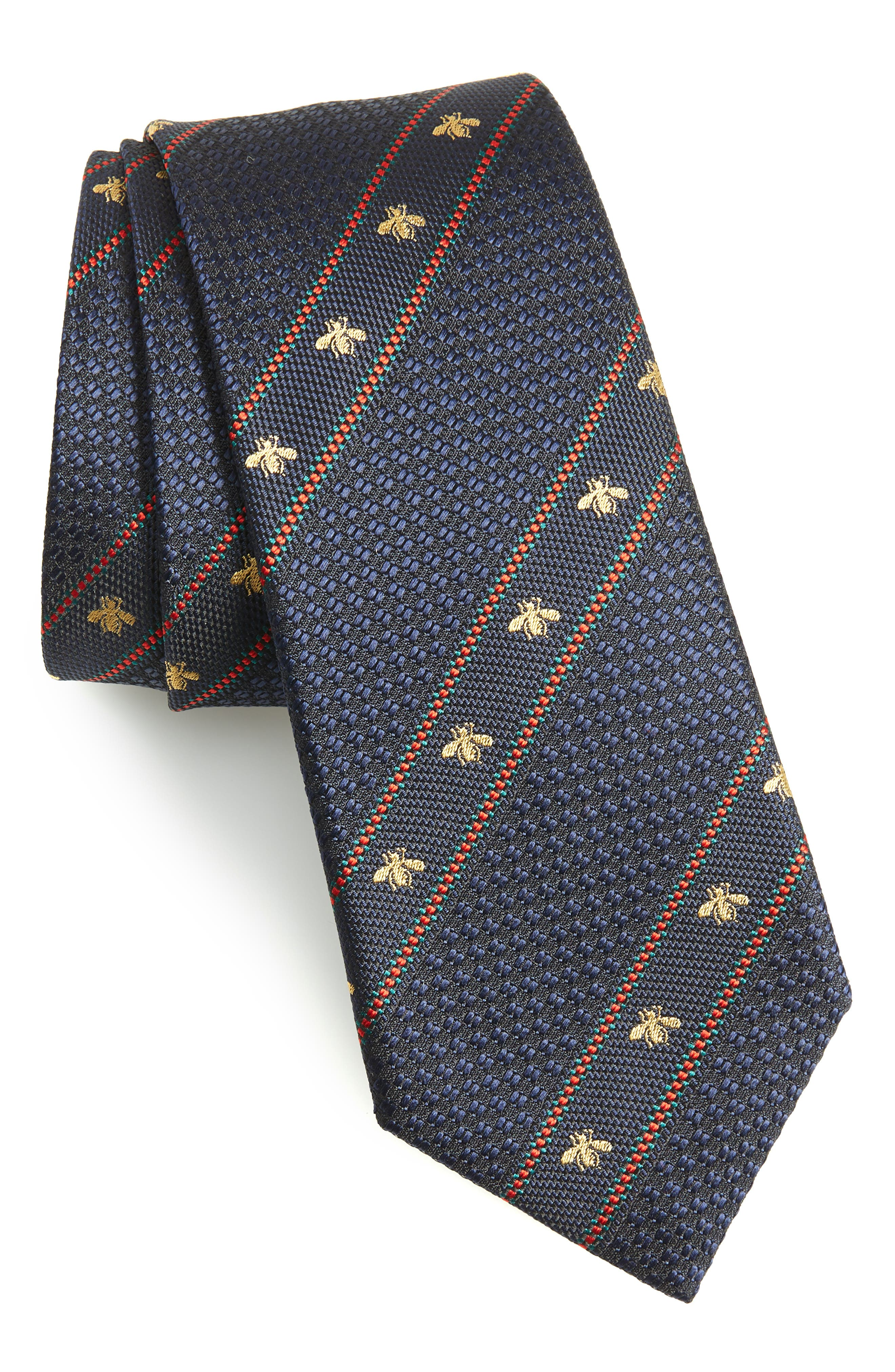 Stripe Silk Tie,                         Main,                         color, BLUE