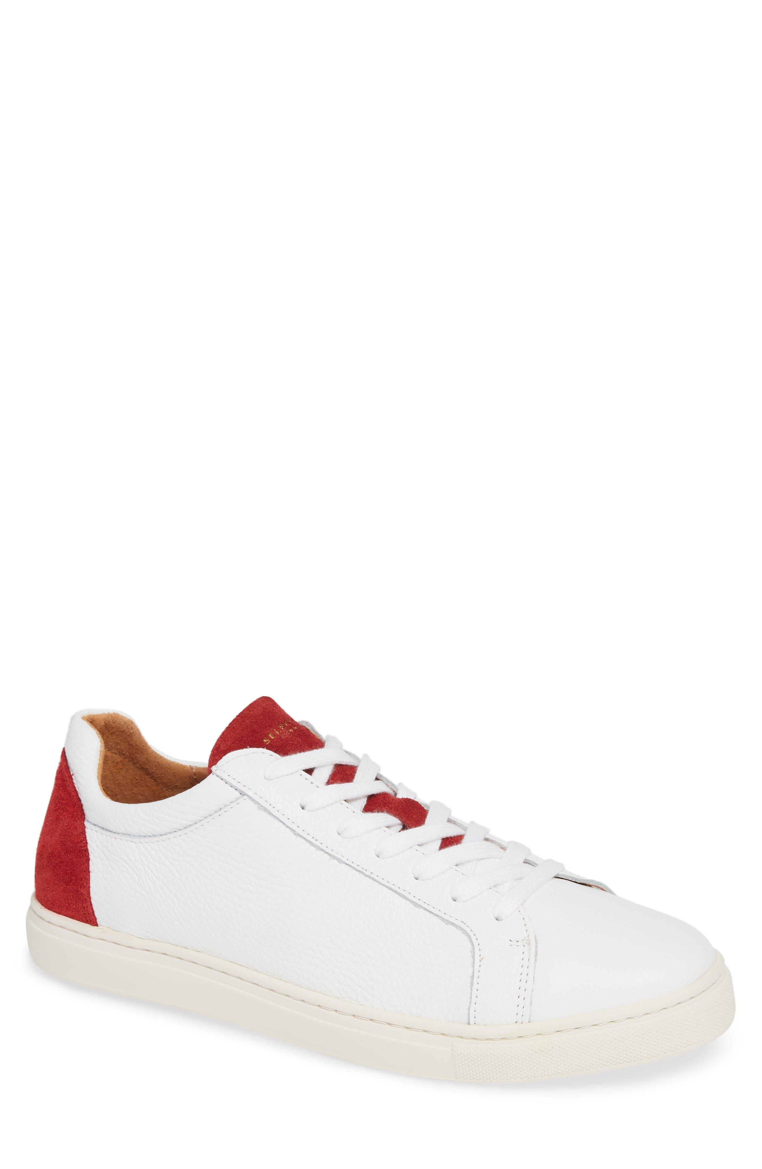 David Colorblock Sneaker,                             Main thumbnail 1, color,                             WHITE/ BARBADOS CHERRY