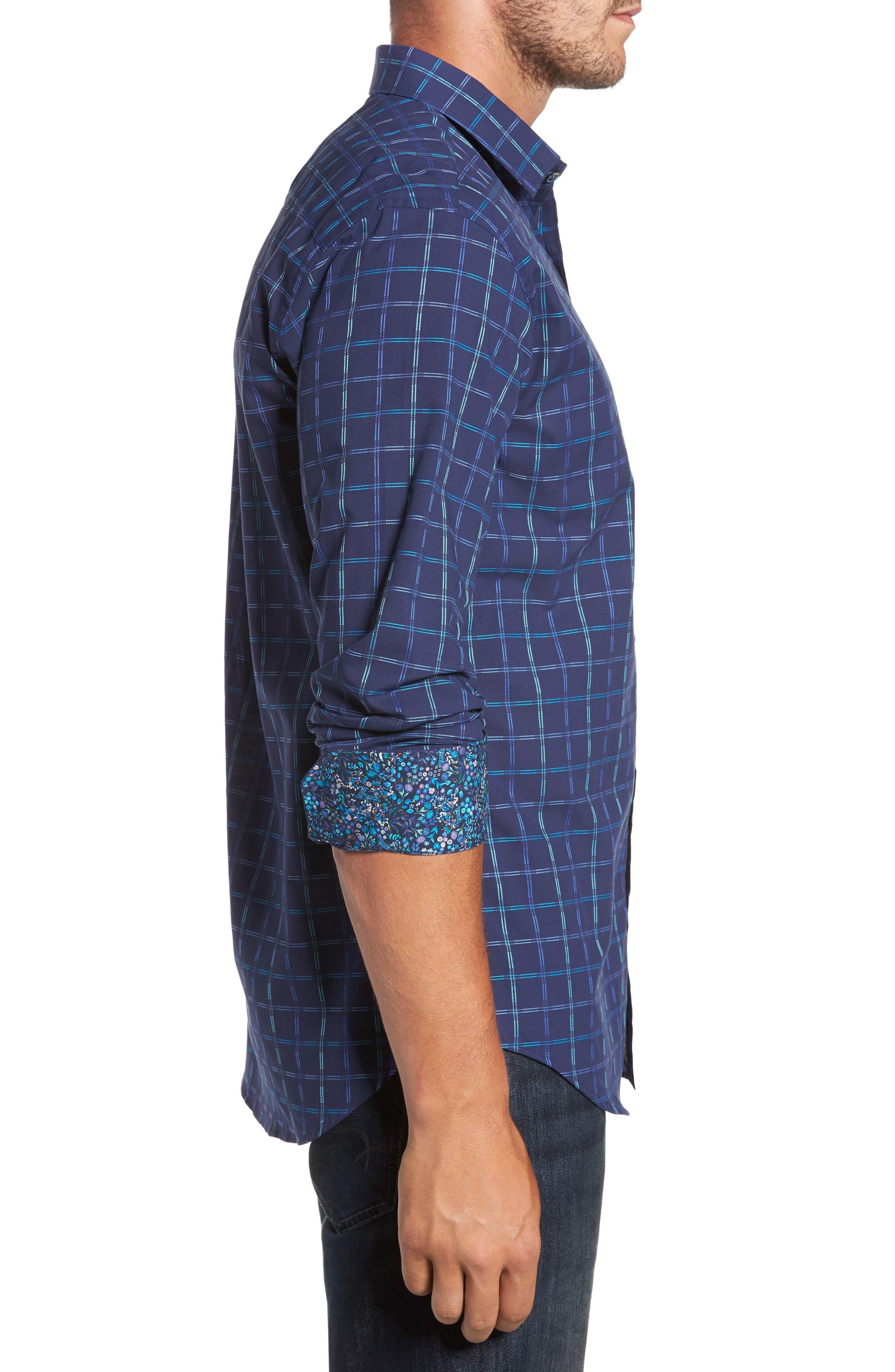 Trim Fit Tattersall Sport Shirt,                             Alternate thumbnail 3, color,                             410
